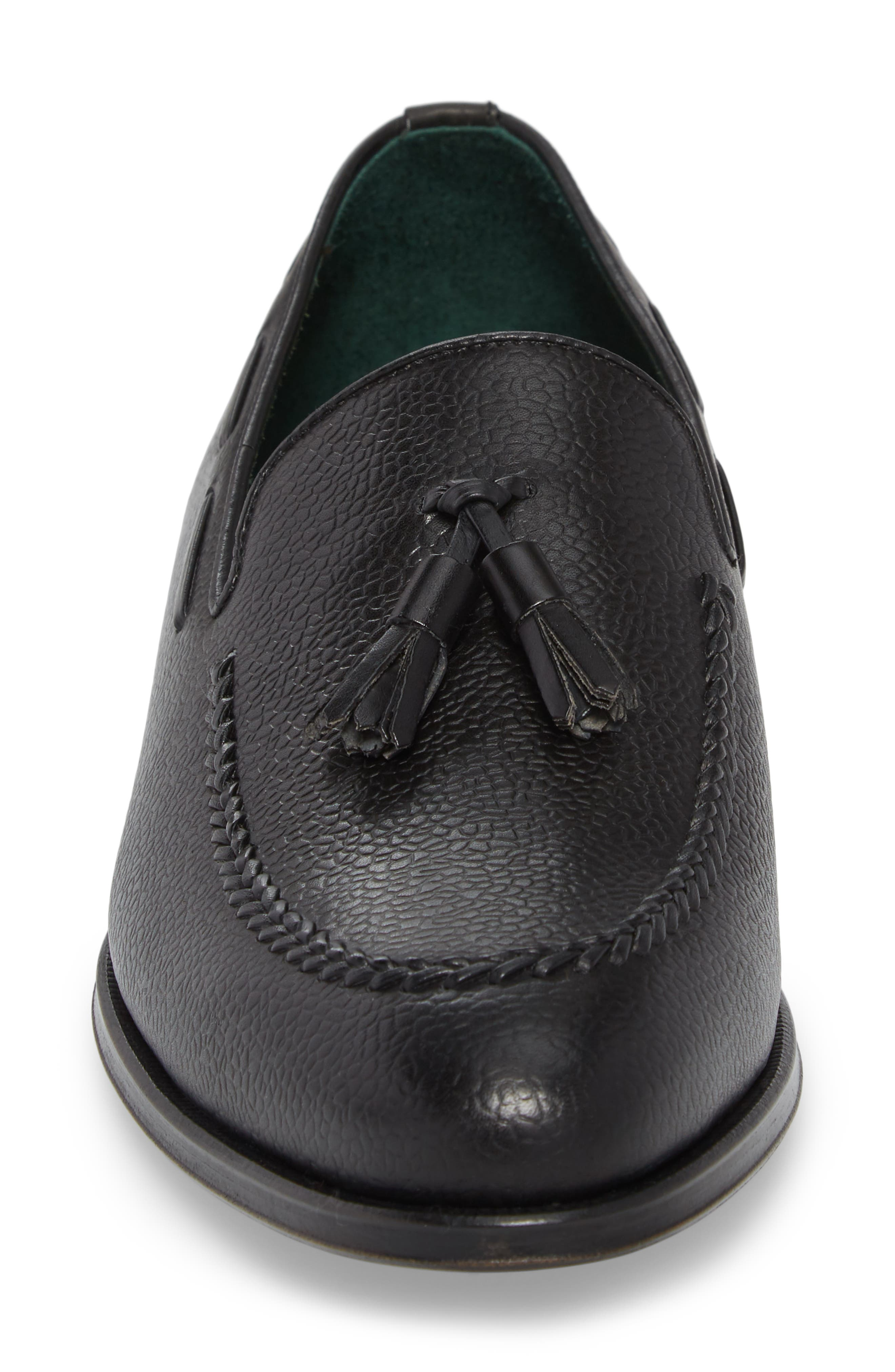 Sabina Tasseled Venetian Loafer,                             Alternate thumbnail 4, color,                             Black Leather