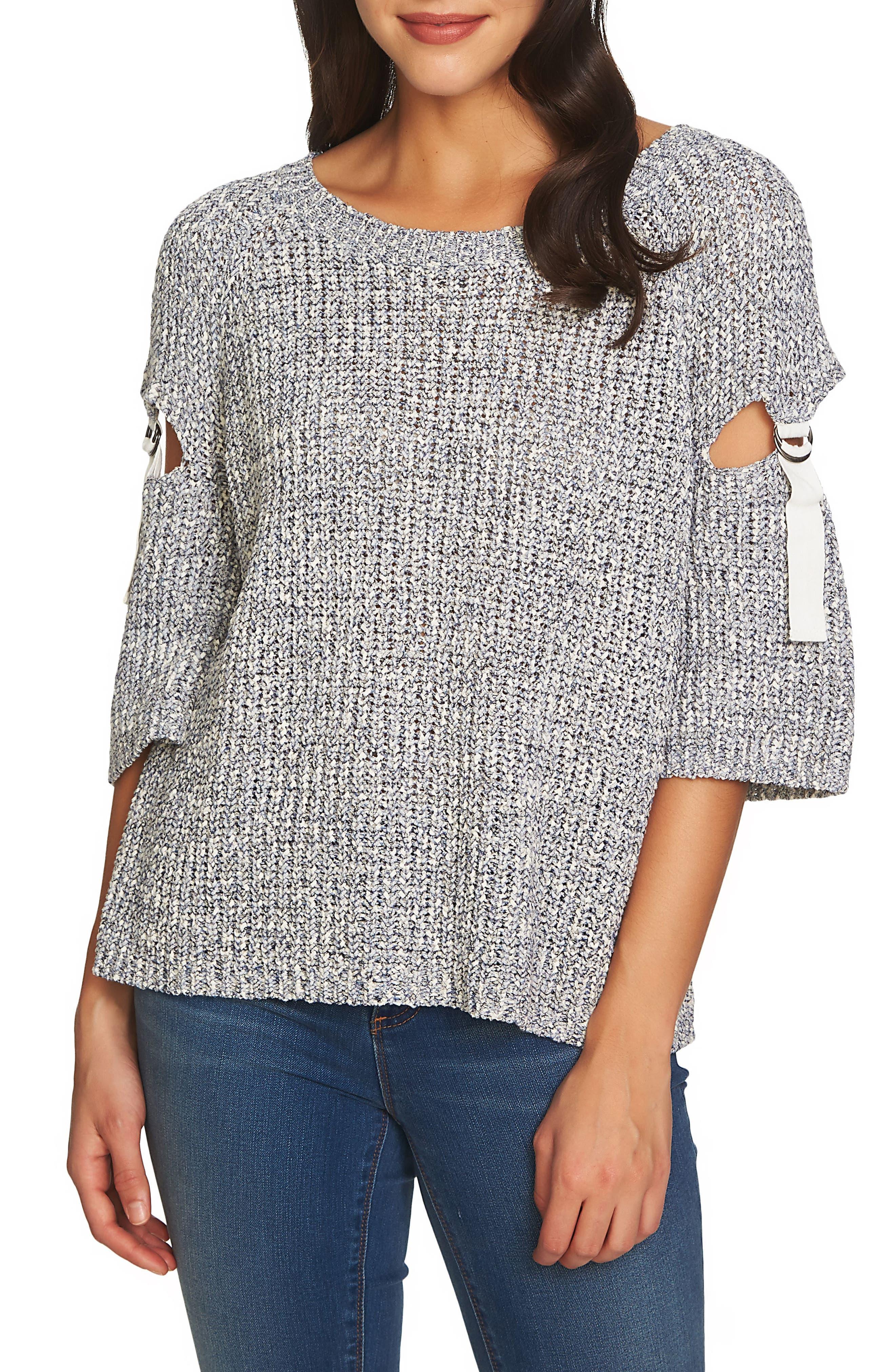 Cutout D-Ring Sleeve Sweater,                         Main,                         color, 553-Navy Yard
