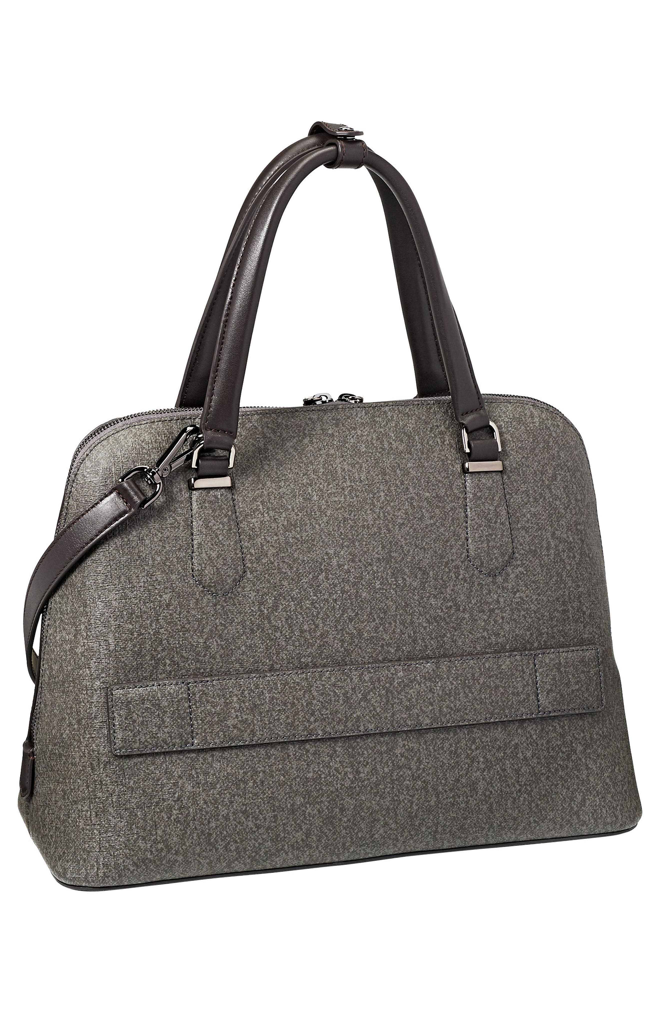 Stanton – Deonne Domed Coated Canvas Satchel,                             Alternate thumbnail 3, color,                             Earl Grey