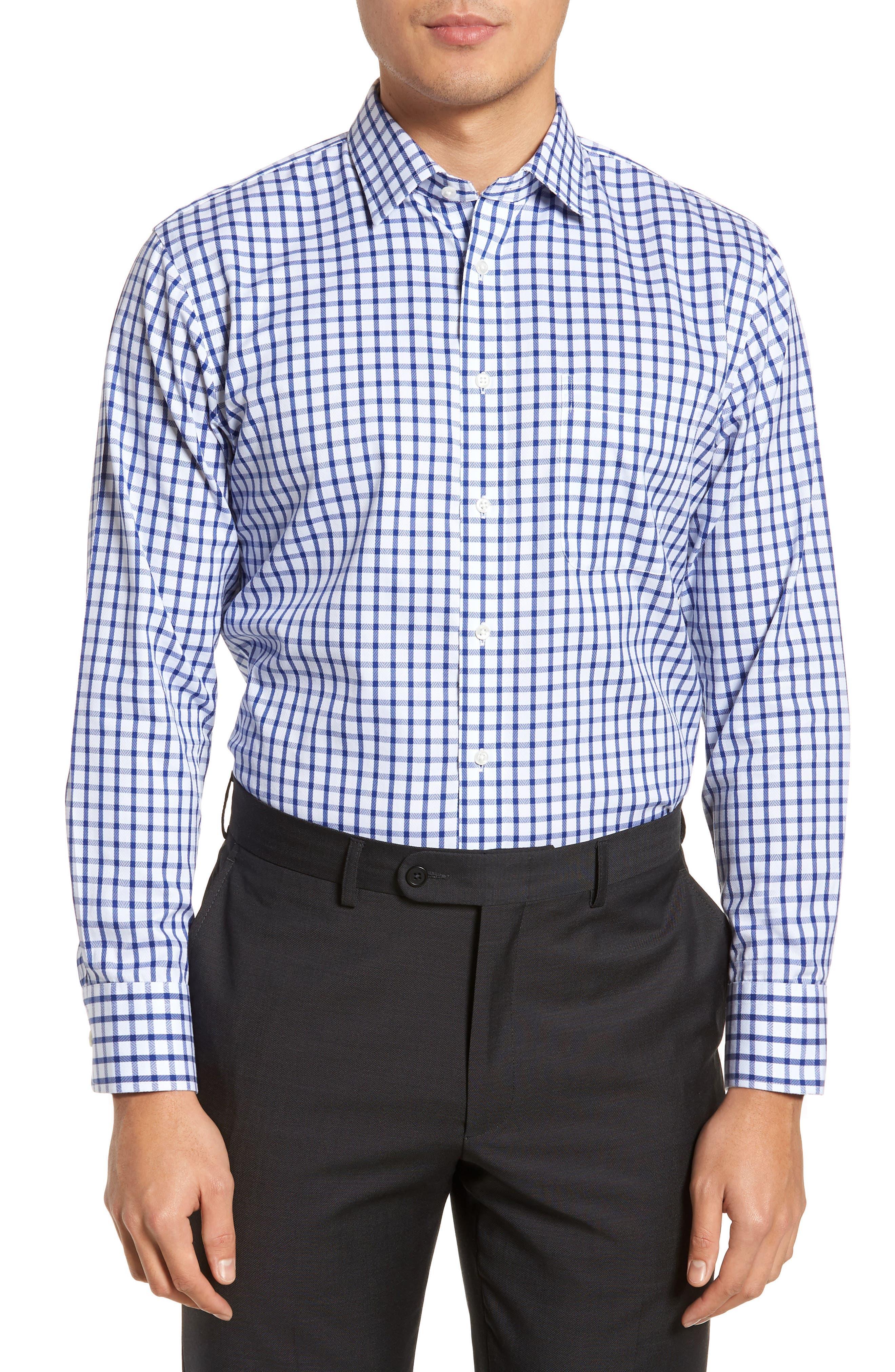 Smartcare<sup>™</sup> Trim Fit Check Dress Shirt,                         Main,                         color, Blue Mazarine