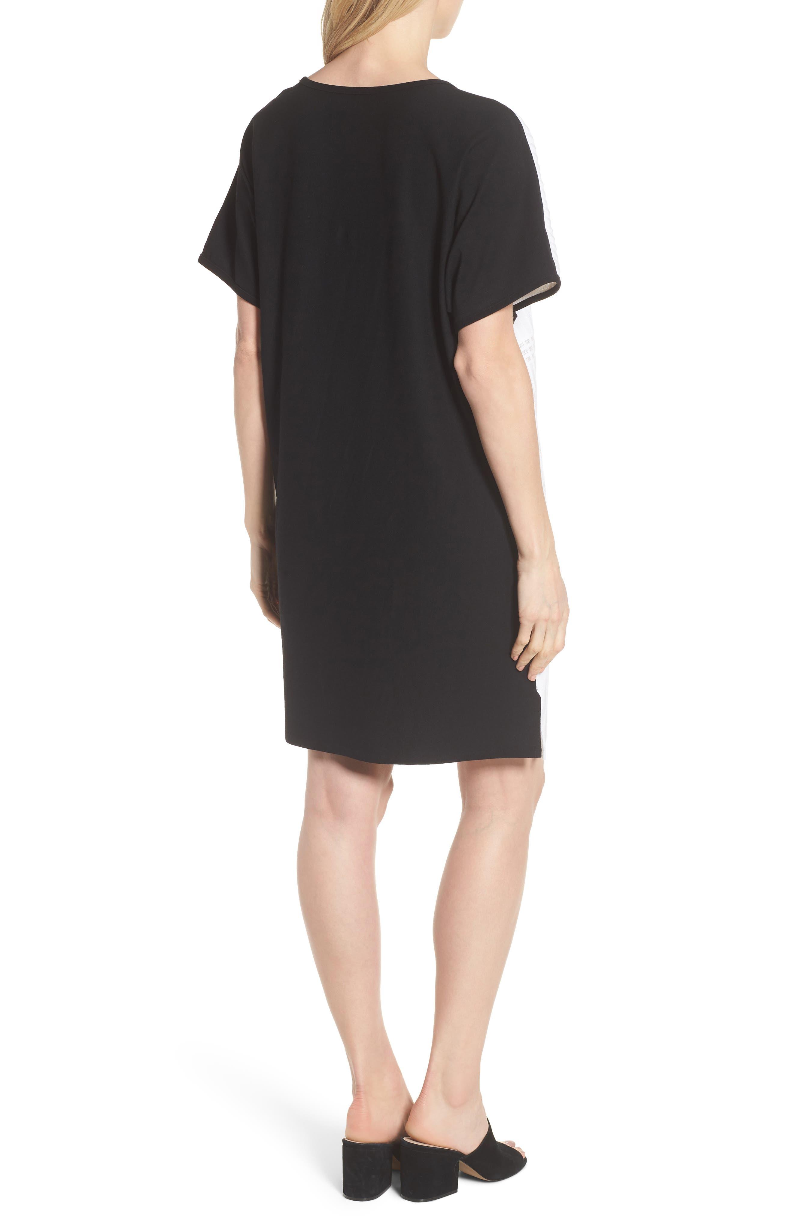 Geometric Jacquard Tunic Dress,                             Alternate thumbnail 2, color,                             White/ Almond Beige/ Black