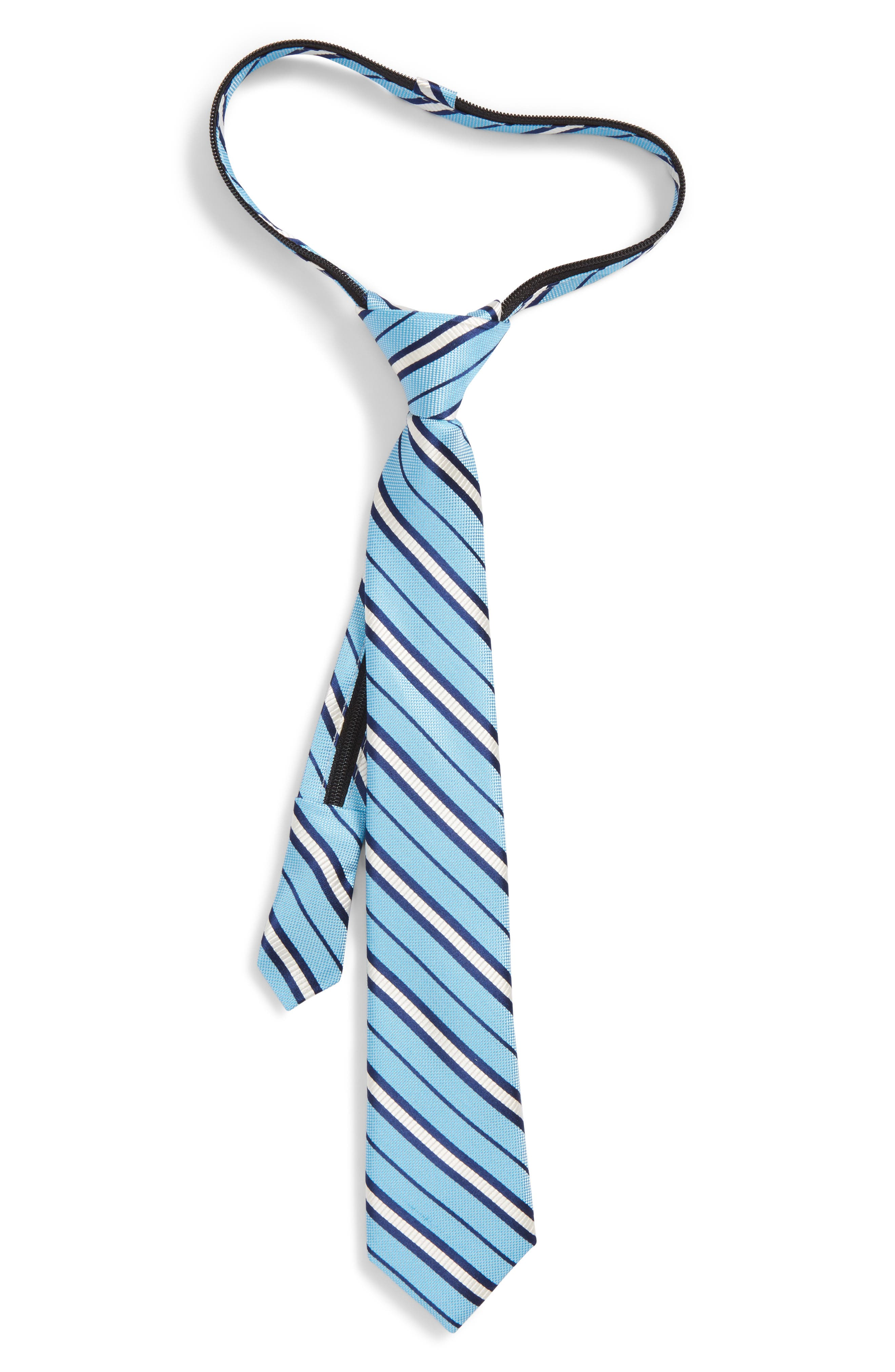 Candy Stripe Silk Zip Tie,                             Main thumbnail 1, color,                             Light Blue