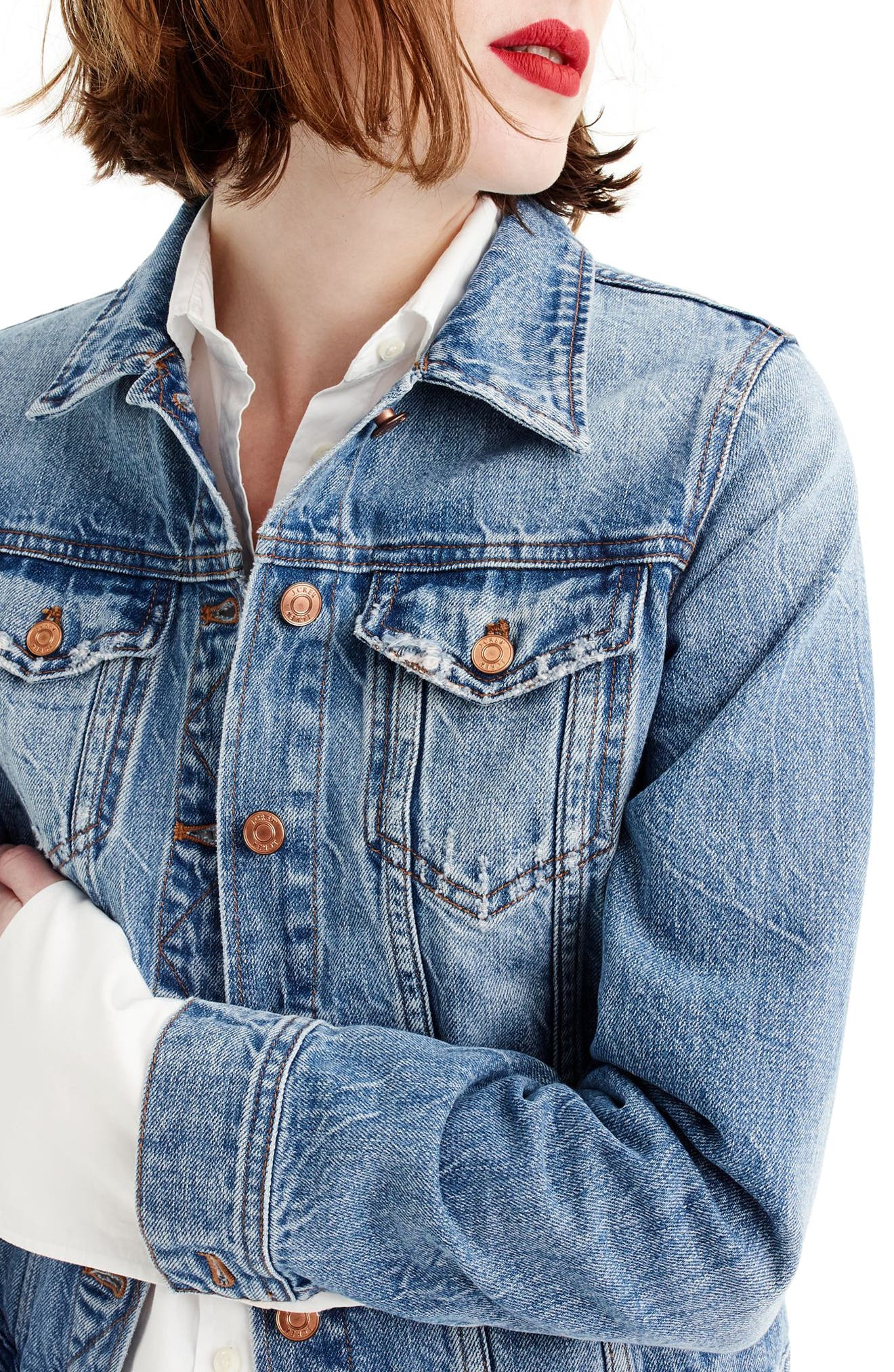 Alternate Image 1 Selected - J.Crew Classic Denim Jacket (Regular & Petite)