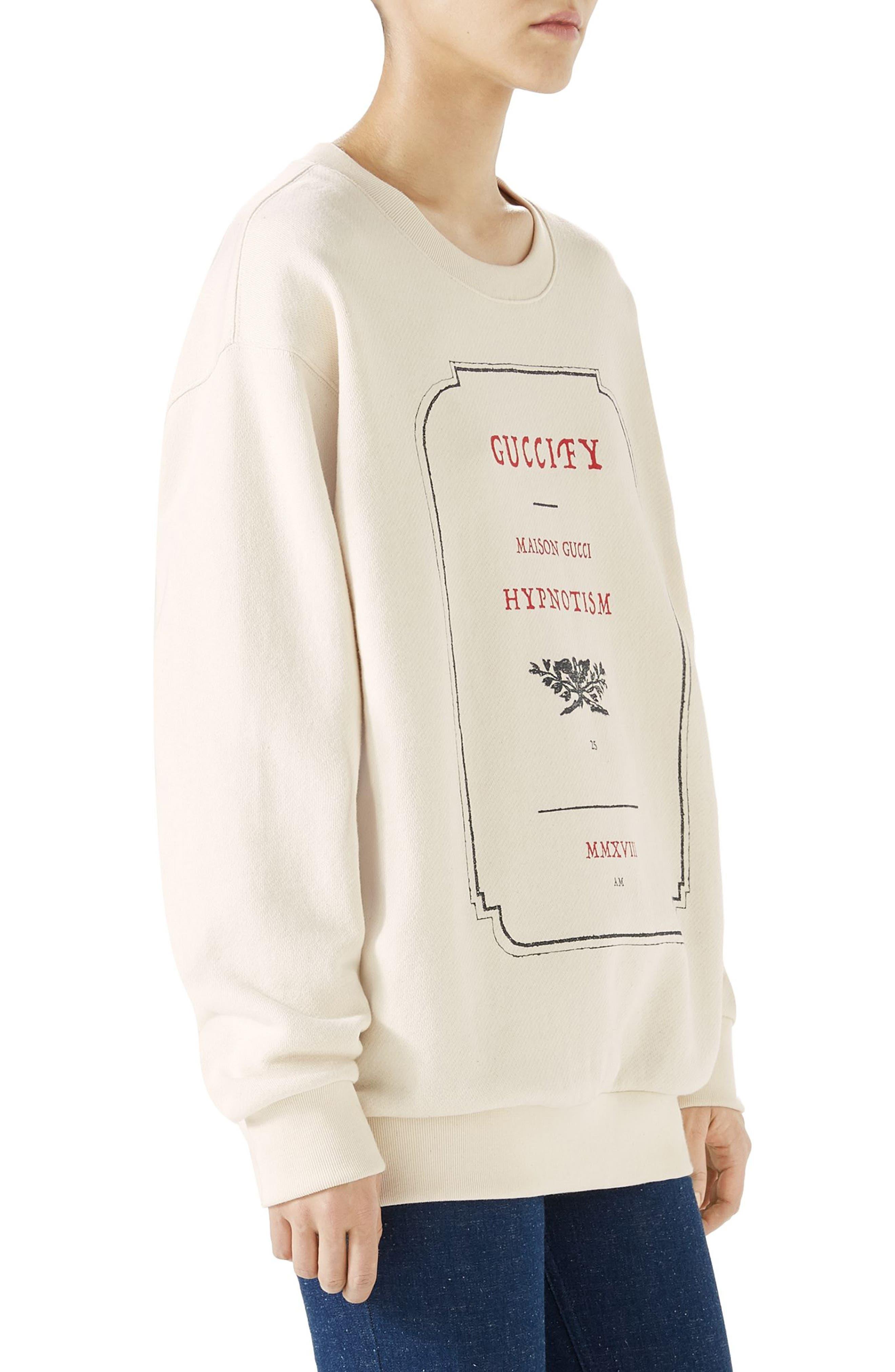 Hypnotism Graphic Sweatshirt,                             Alternate thumbnail 3, color,                             Natural White/ Multicolor