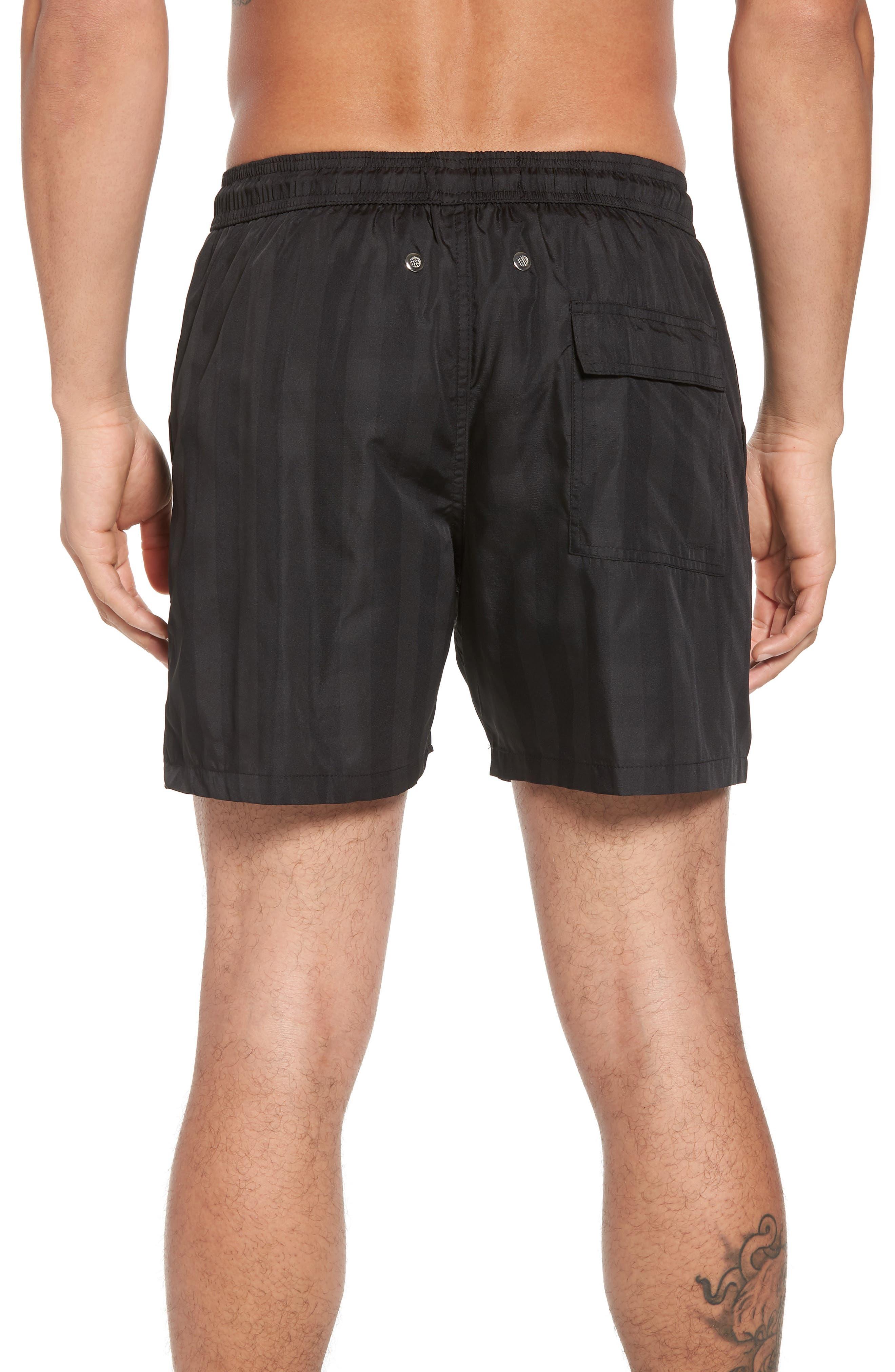 Trim Fit Swim Shorts,                             Alternate thumbnail 2, color,                             Black Plaid