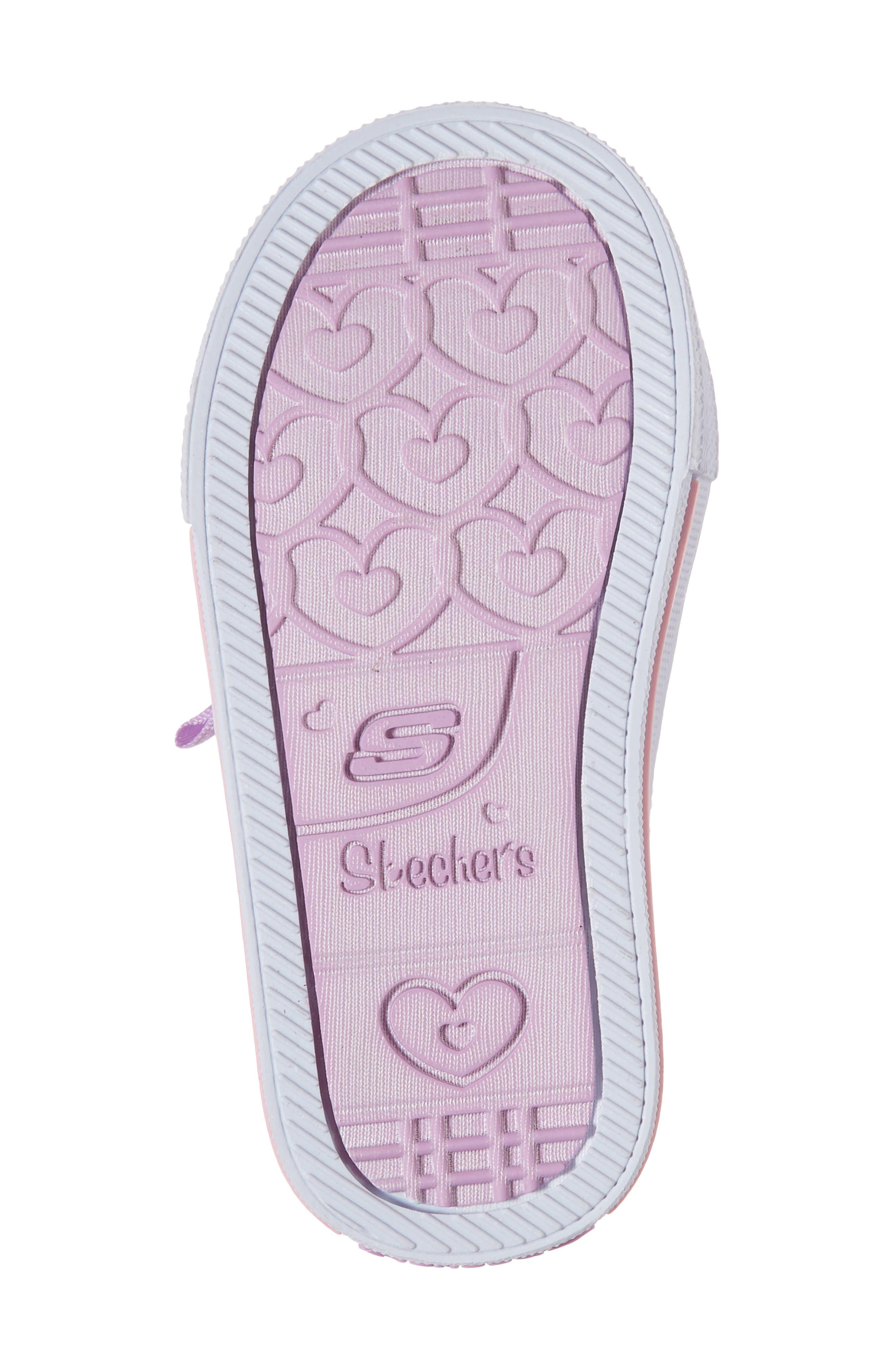 Twinkle Toes Shuffles Light-Up Glitter Sneaker,                             Alternate thumbnail 6, color,                             White/ Silver/ Light Pink