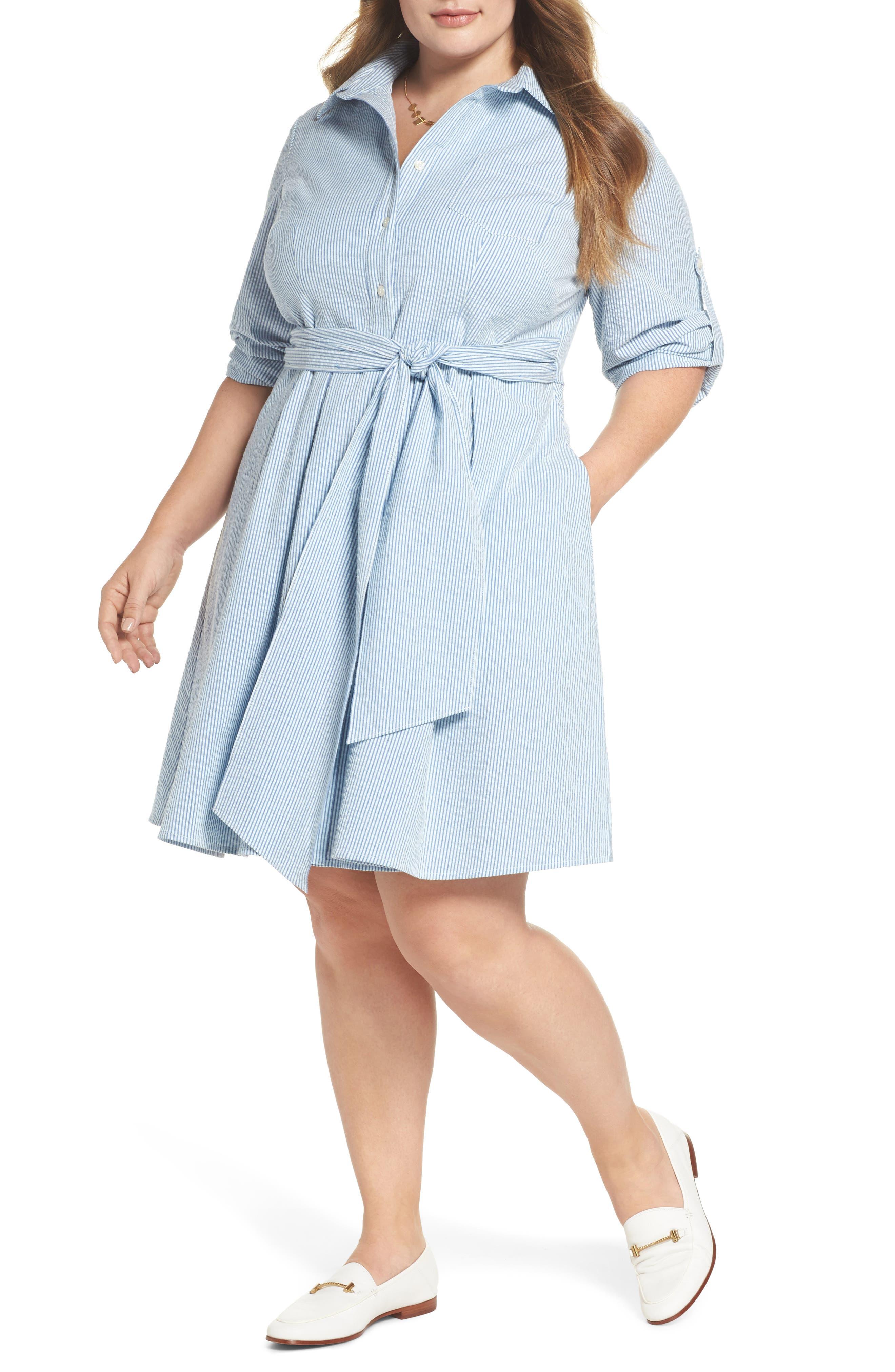 Seersucker Shirtdress,                             Main thumbnail 1, color,                             Blue Seersucker
