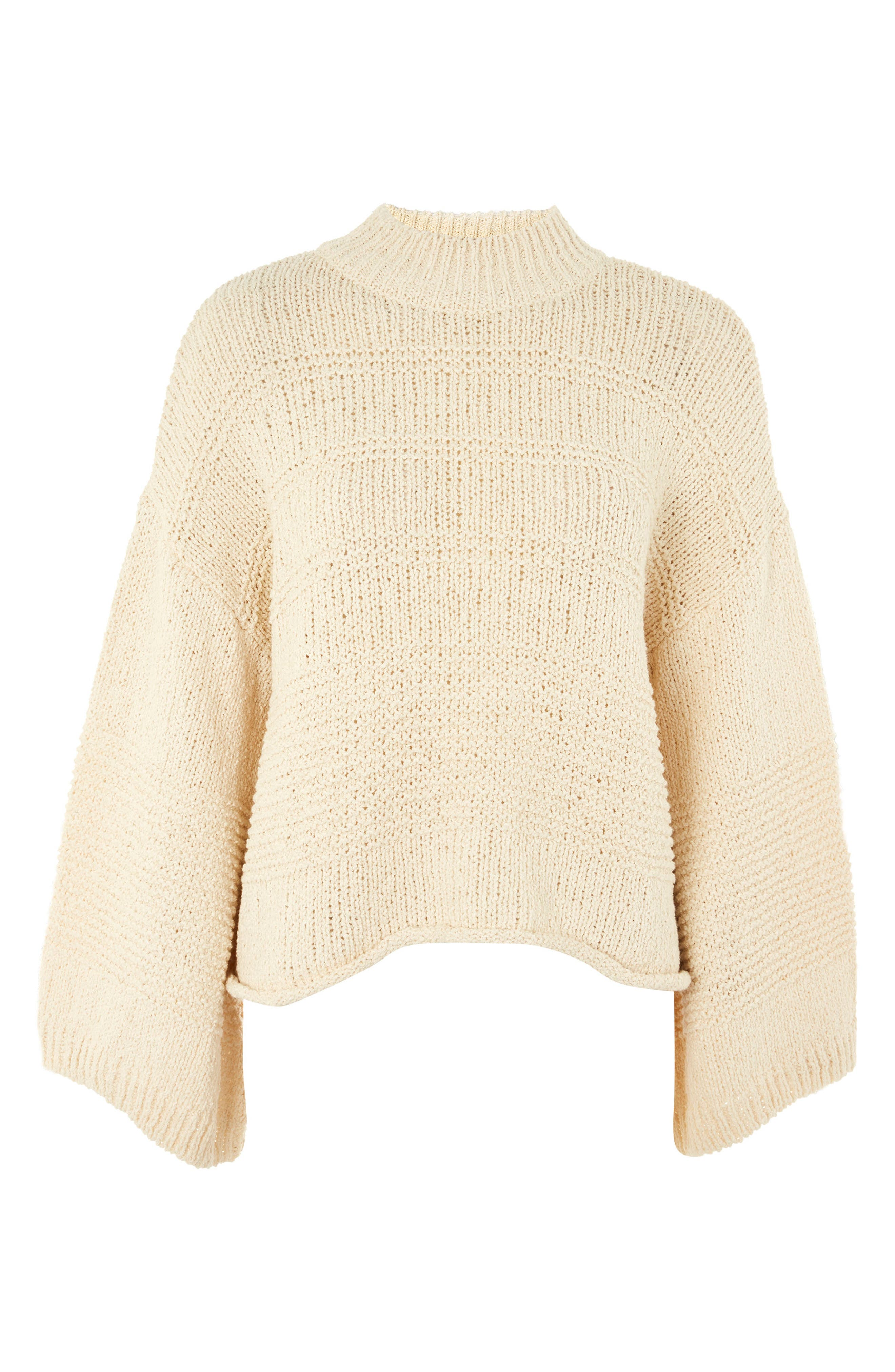 Natural Yarn Bell Sleeve Sweater,                             Alternate thumbnail 3, color,                             Ivory