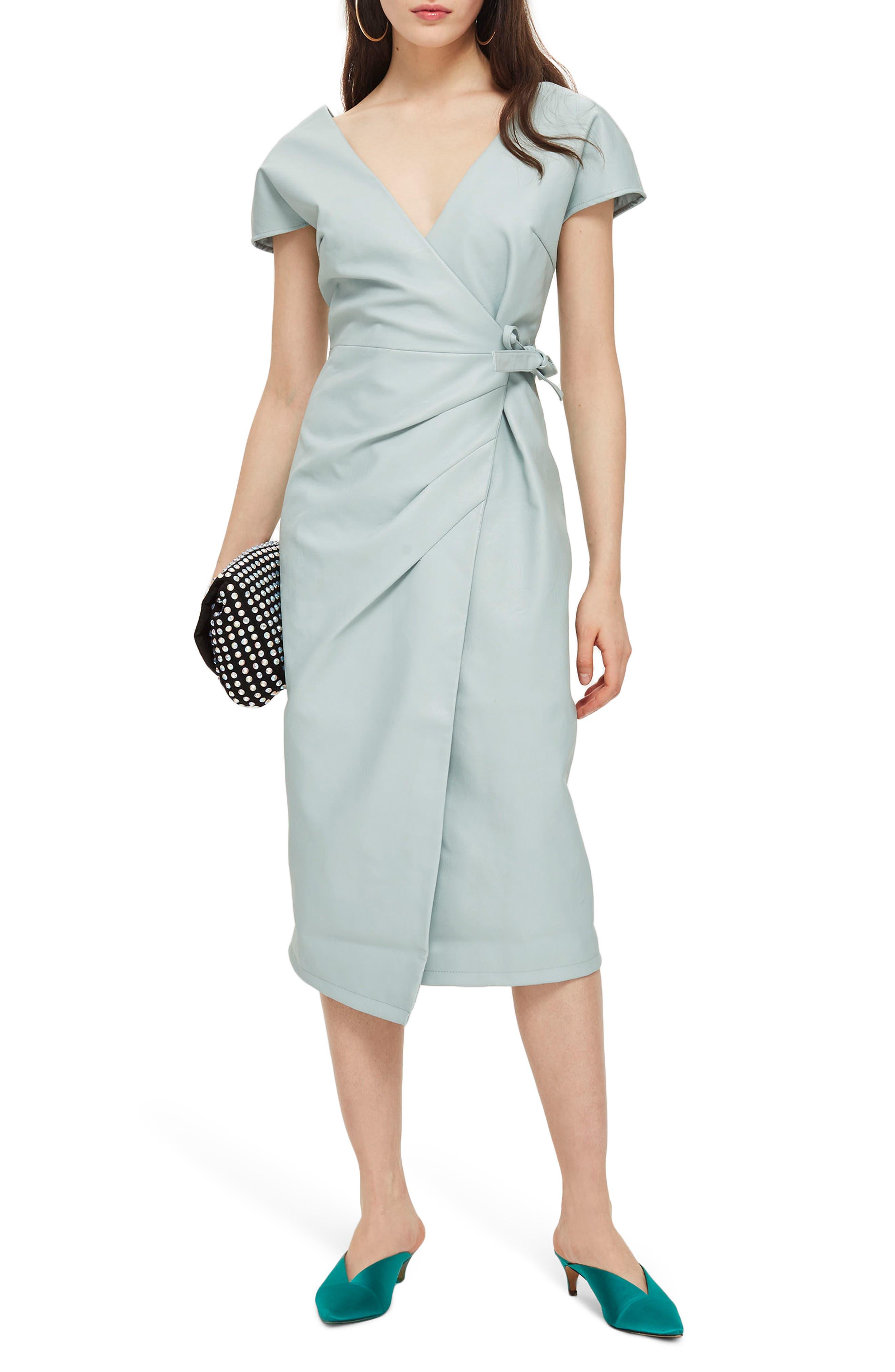 Wrap Midi Dress,                             Main thumbnail 1, color,                             Mint