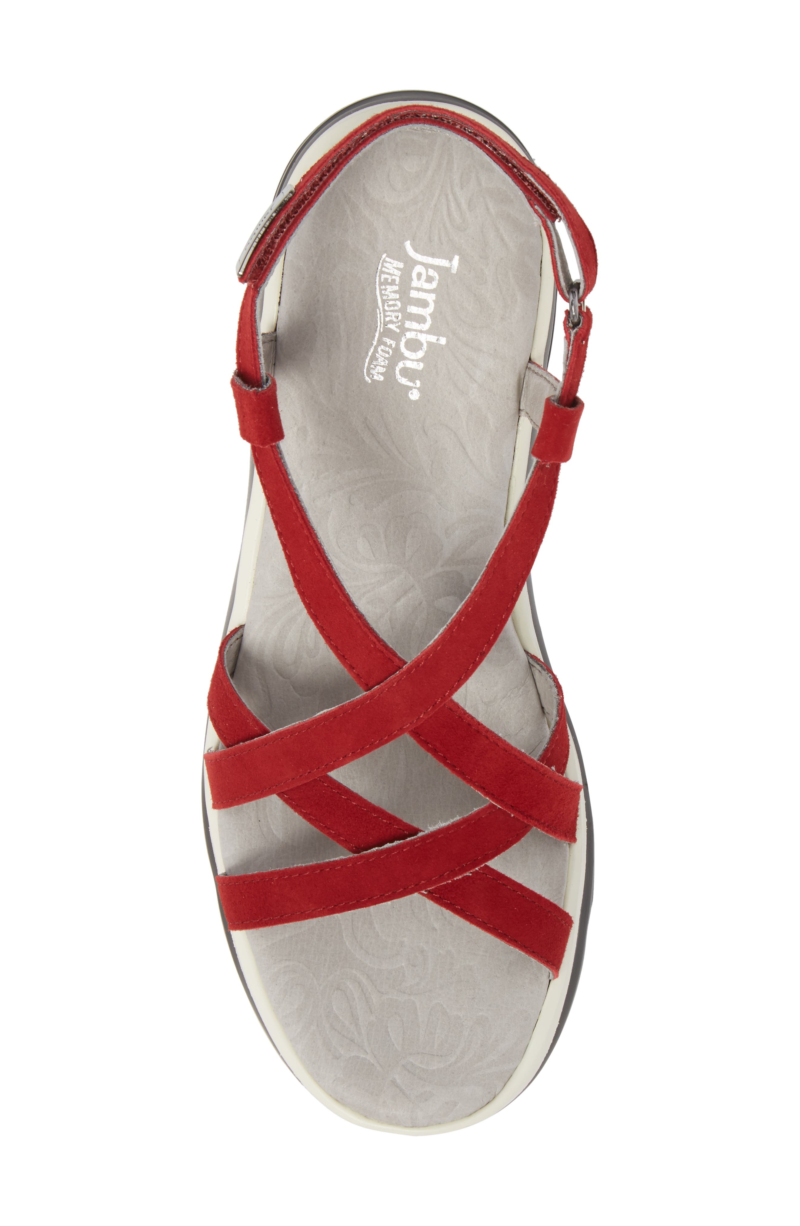 Ginger Wedge Sandal,                             Alternate thumbnail 5, color,                             Red Suede