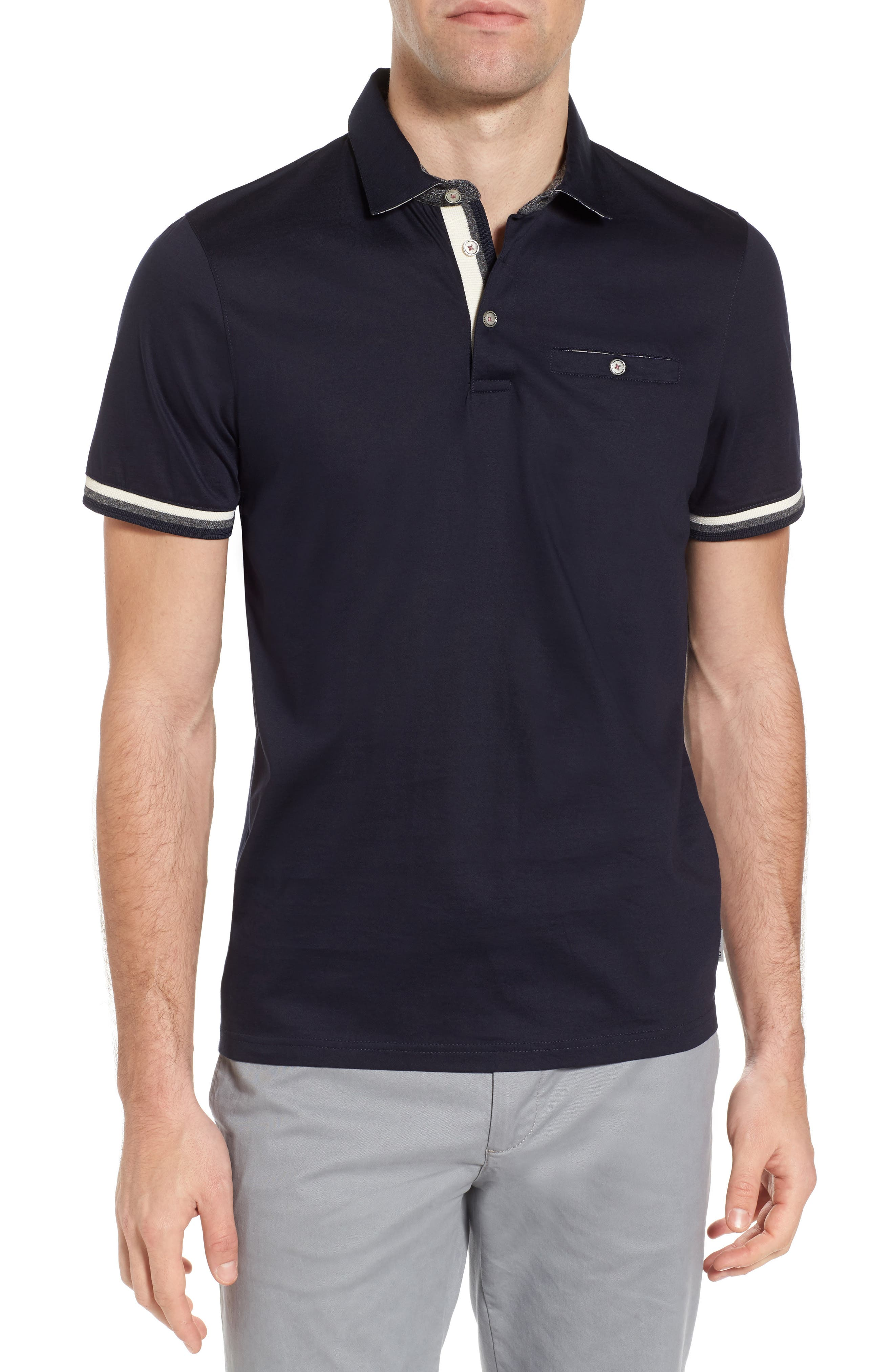 Puggltt Trim Fit Stripe Polo,                         Main,                         color, Navy