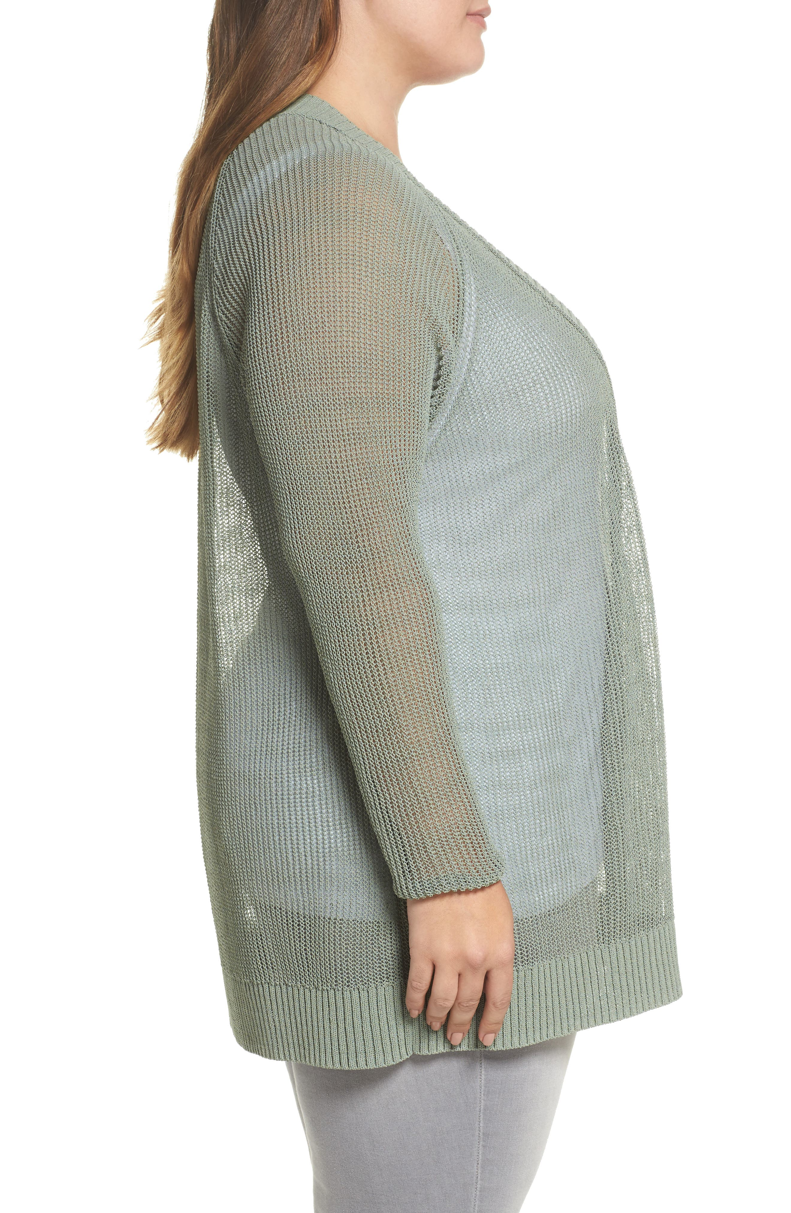 Open Stitch Cardigan,                             Alternate thumbnail 3, color,                             Green Lilypad