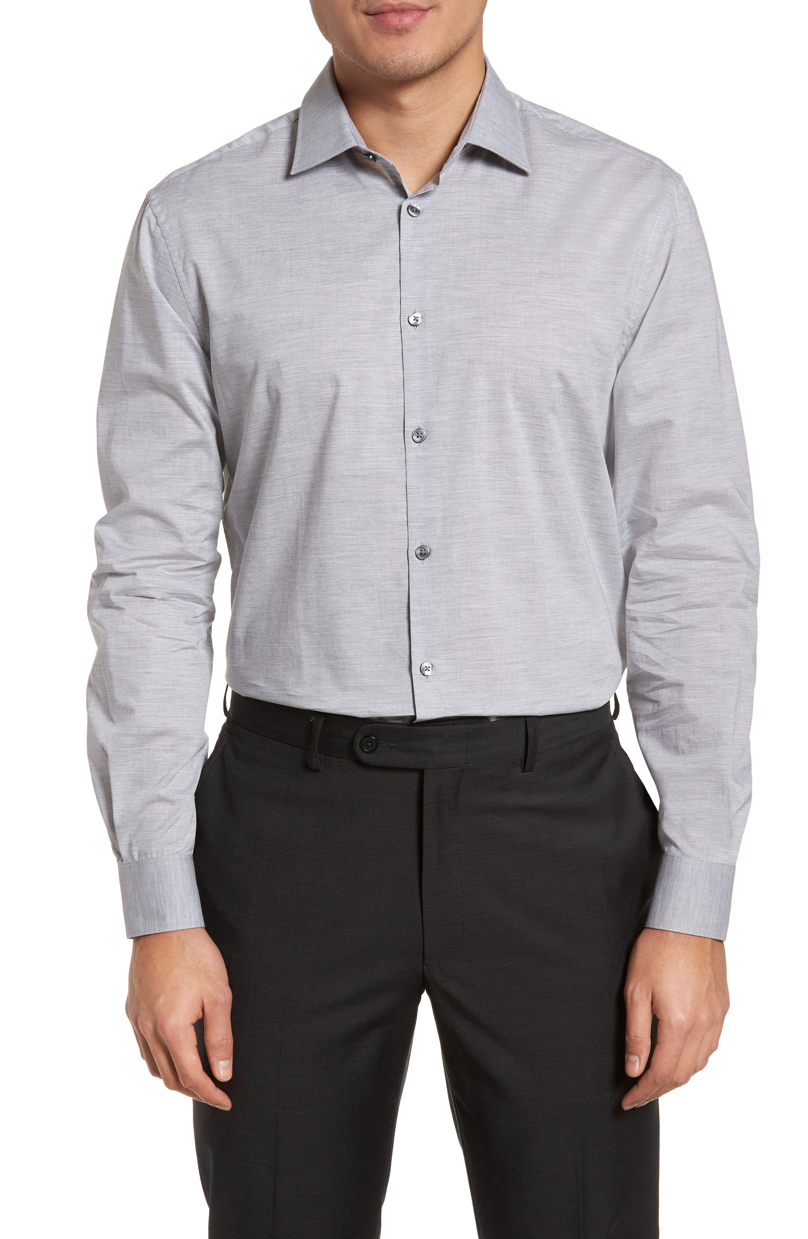 Regular Fit Solid Dress Shirt,                         Main,                         color, Grey