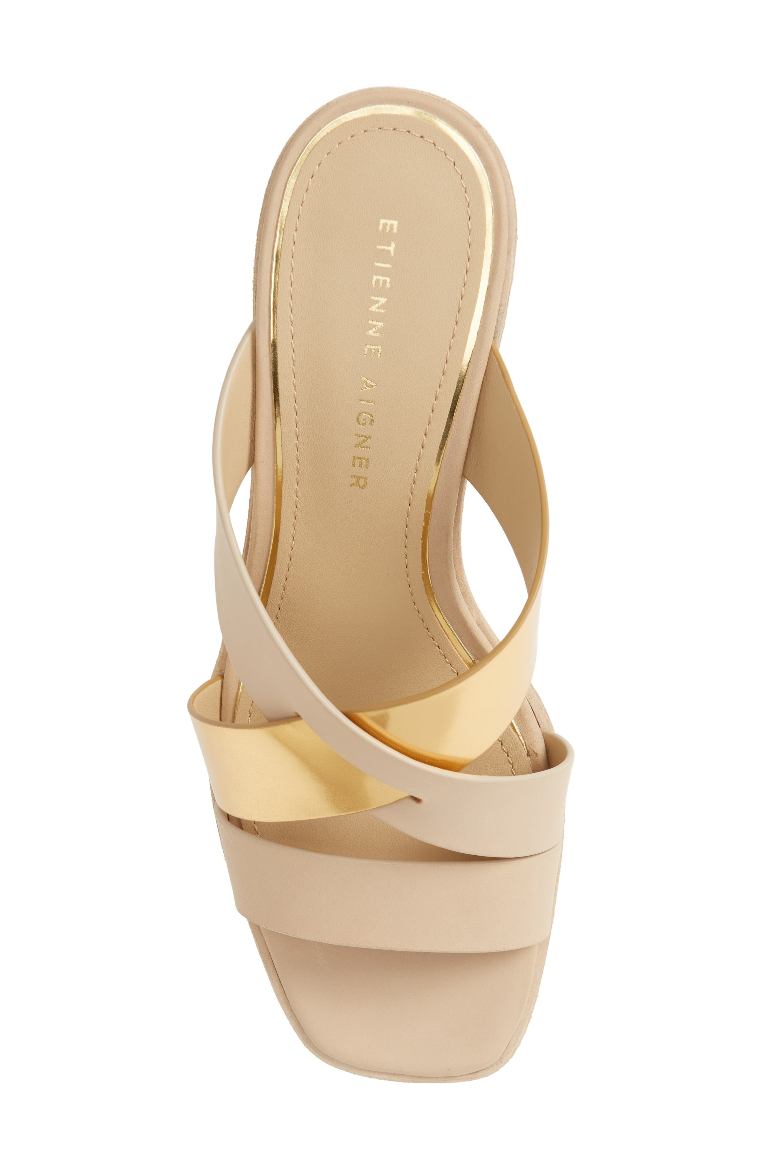 Negroni Cross Strap Mule Sandal,                             Alternate thumbnail 5, color,                             Natural/ Gold Leather