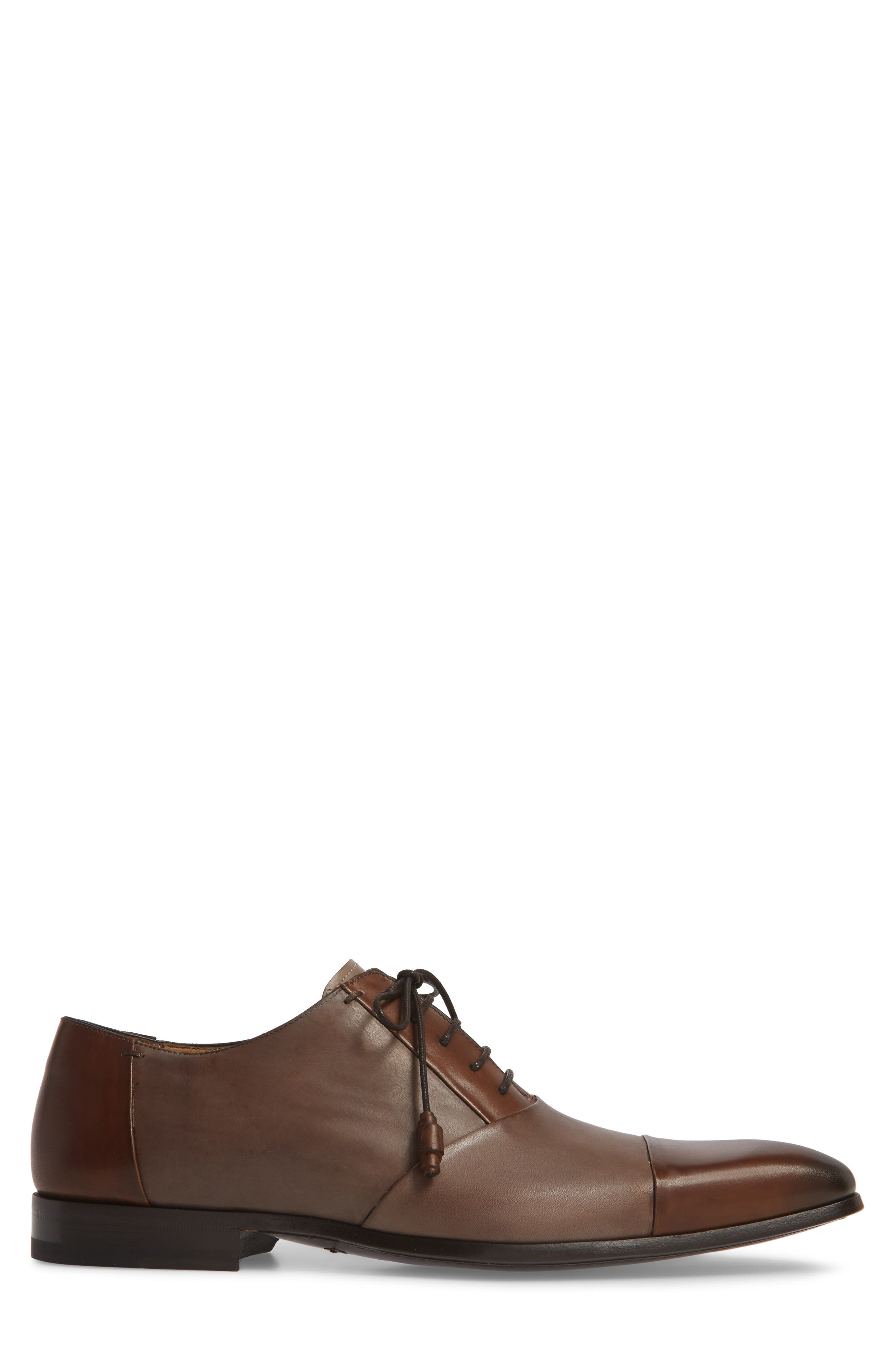 Julius Spectator Oxford,                             Alternate thumbnail 3, color,                             Cognac/ Taupe Leather