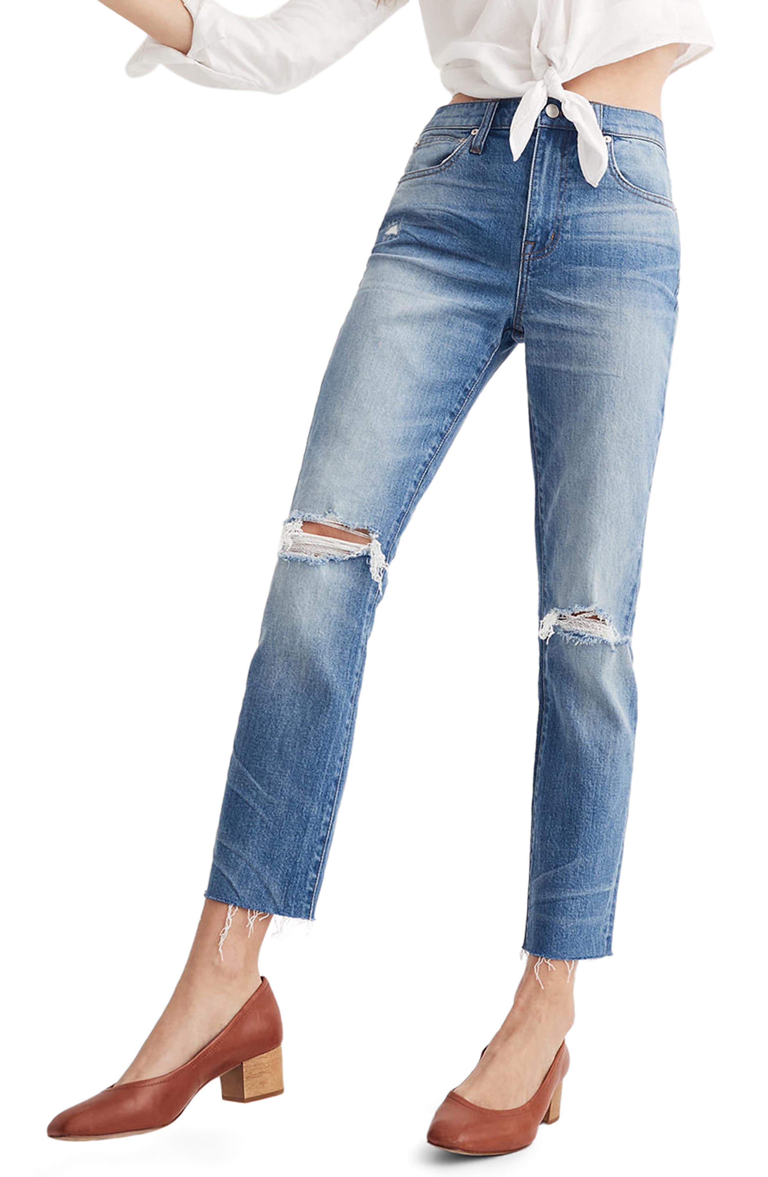 Ripped High Waist Slim Boyfriend Jeans,                             Main thumbnail 1, color,                             Burt