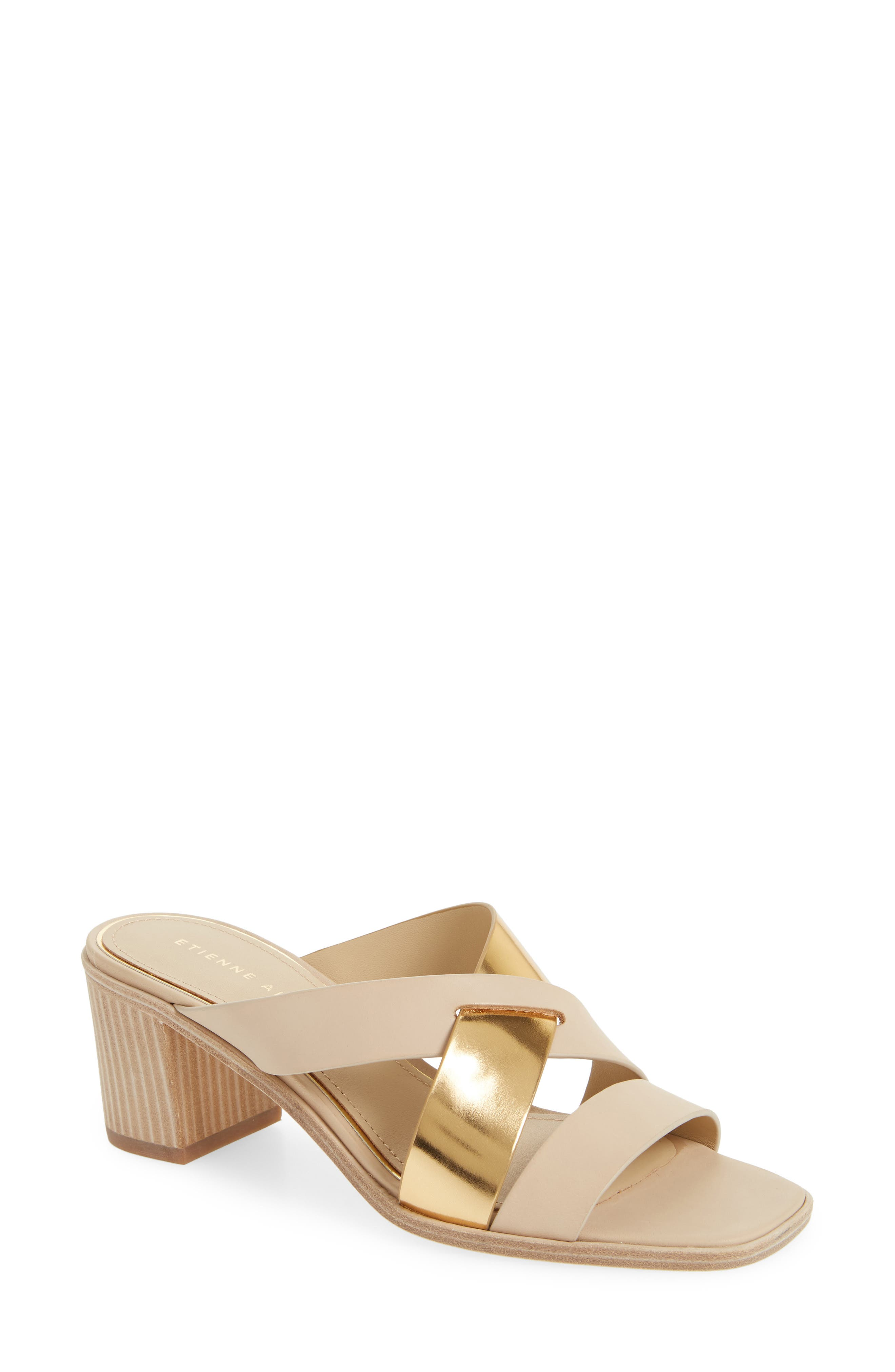 Negroni Cross Strap Mule Sandal,                             Main thumbnail 1, color,                             Natural/ Gold Leather
