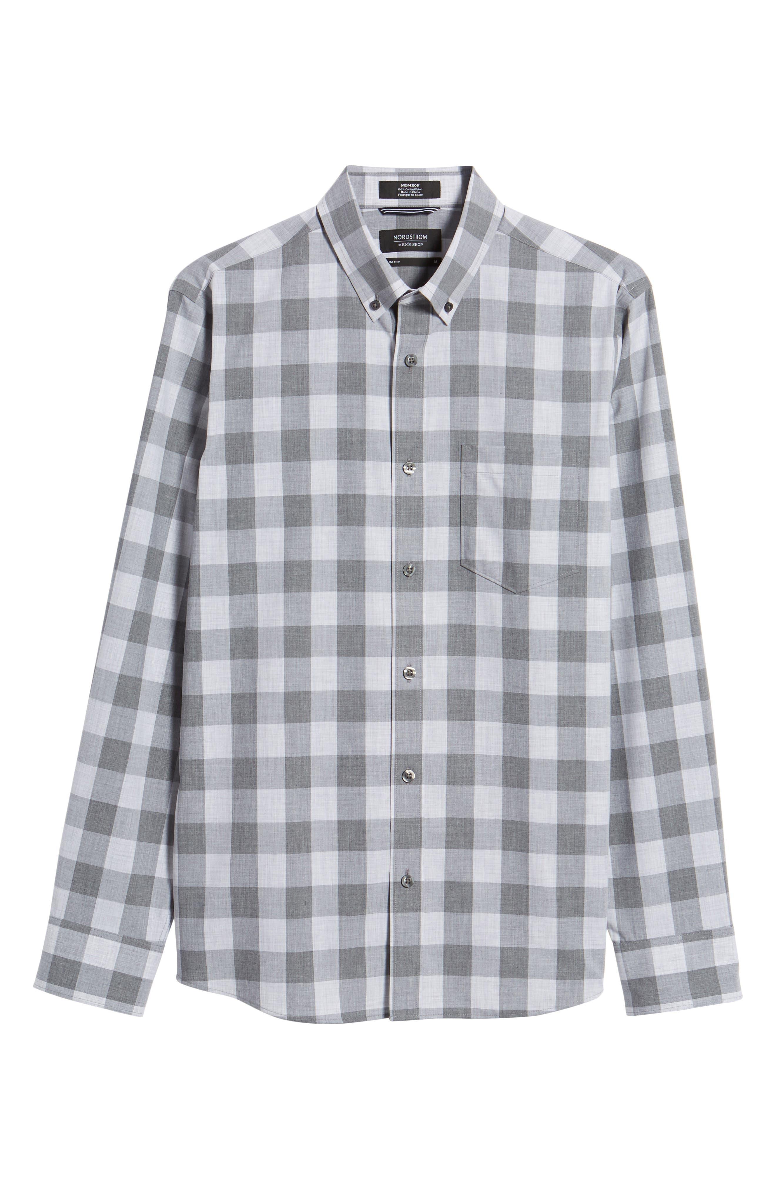 Trim Fit Check Sport Shirt,                             Alternate thumbnail 6, color,                             Grey Shade Buffalo