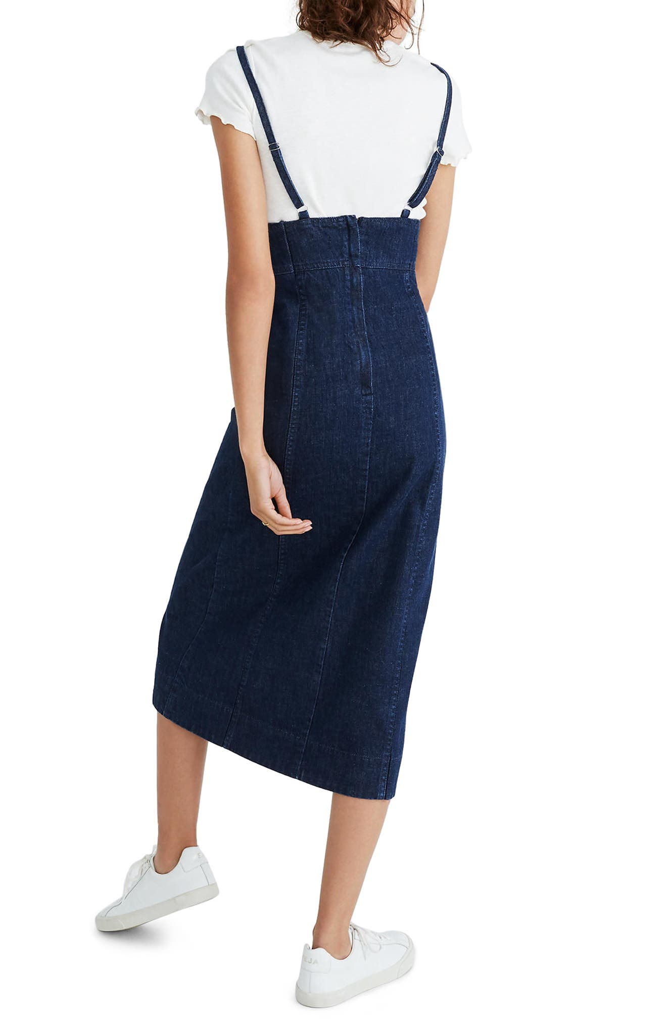 Denim Camisole Midi Dress,                             Alternate thumbnail 2, color,                             Candice Wash