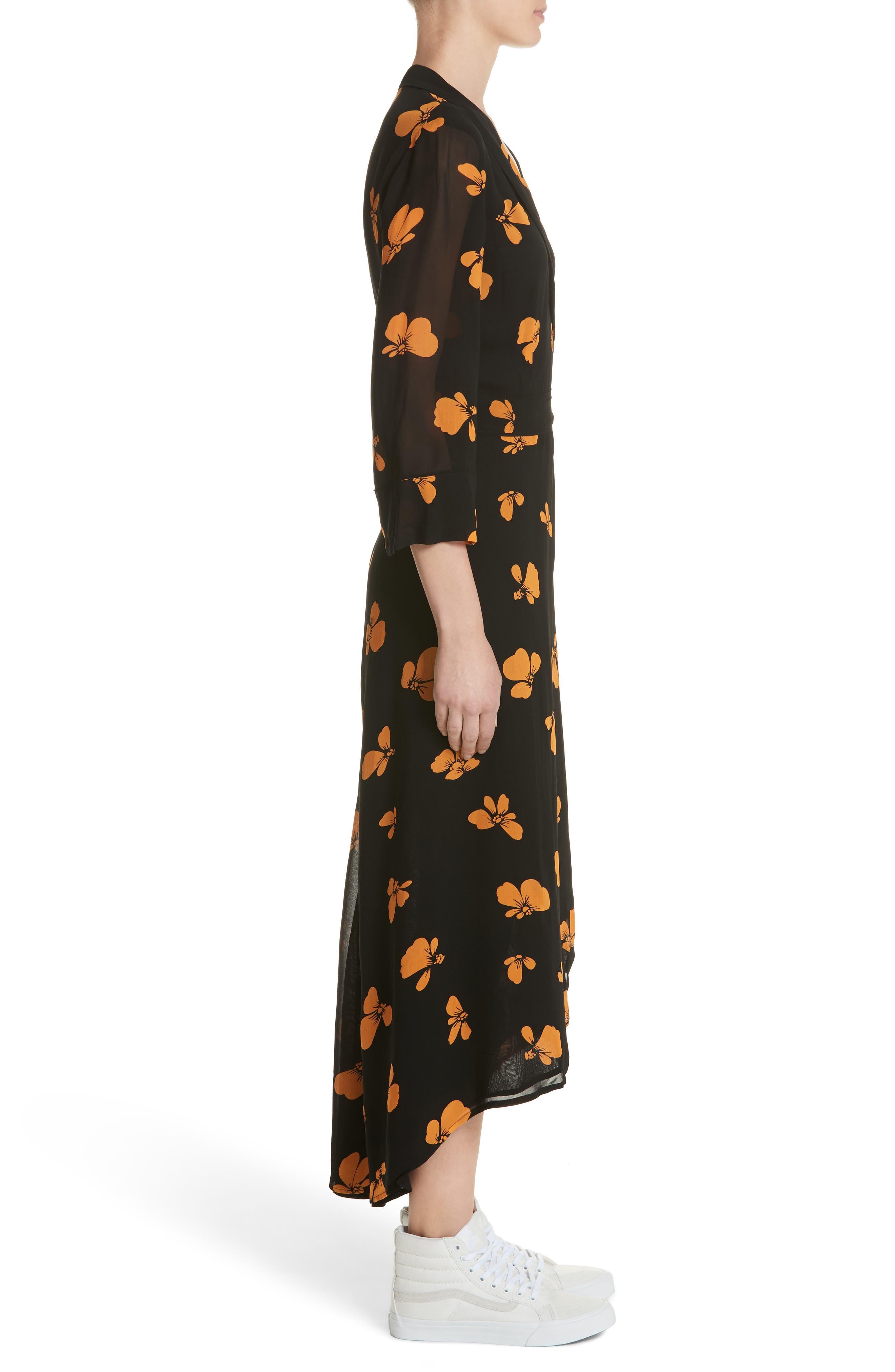 Fairfax Georgette Wrap Dress,                             Alternate thumbnail 3, color,                             Black