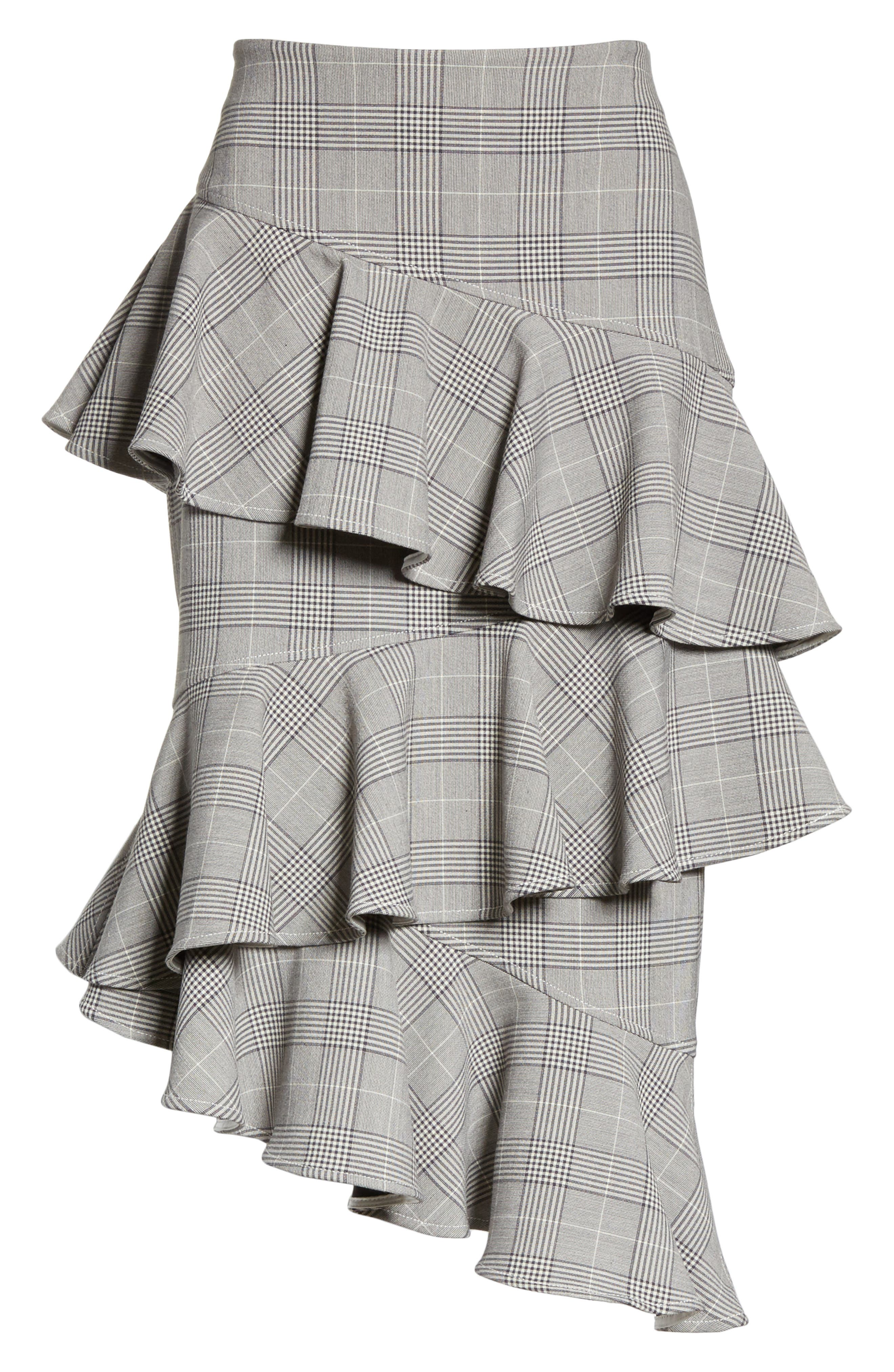 Garvey Plaid Ruffle Tier Skirt,                             Alternate thumbnail 6, color,                             Paloma Melange
