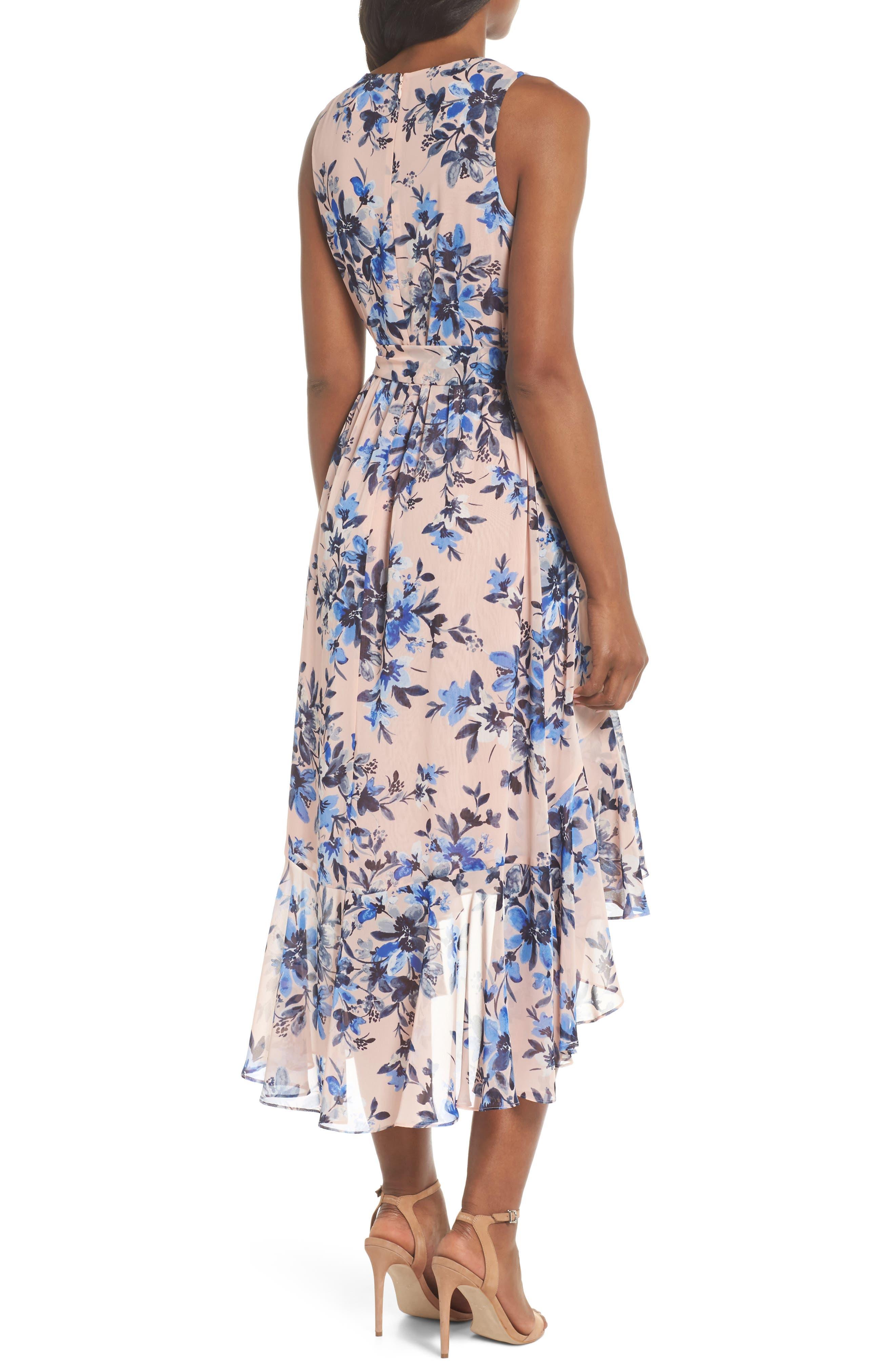 Sleeveless High/Low Dress,                             Alternate thumbnail 2, color,                             Blush/ Blue