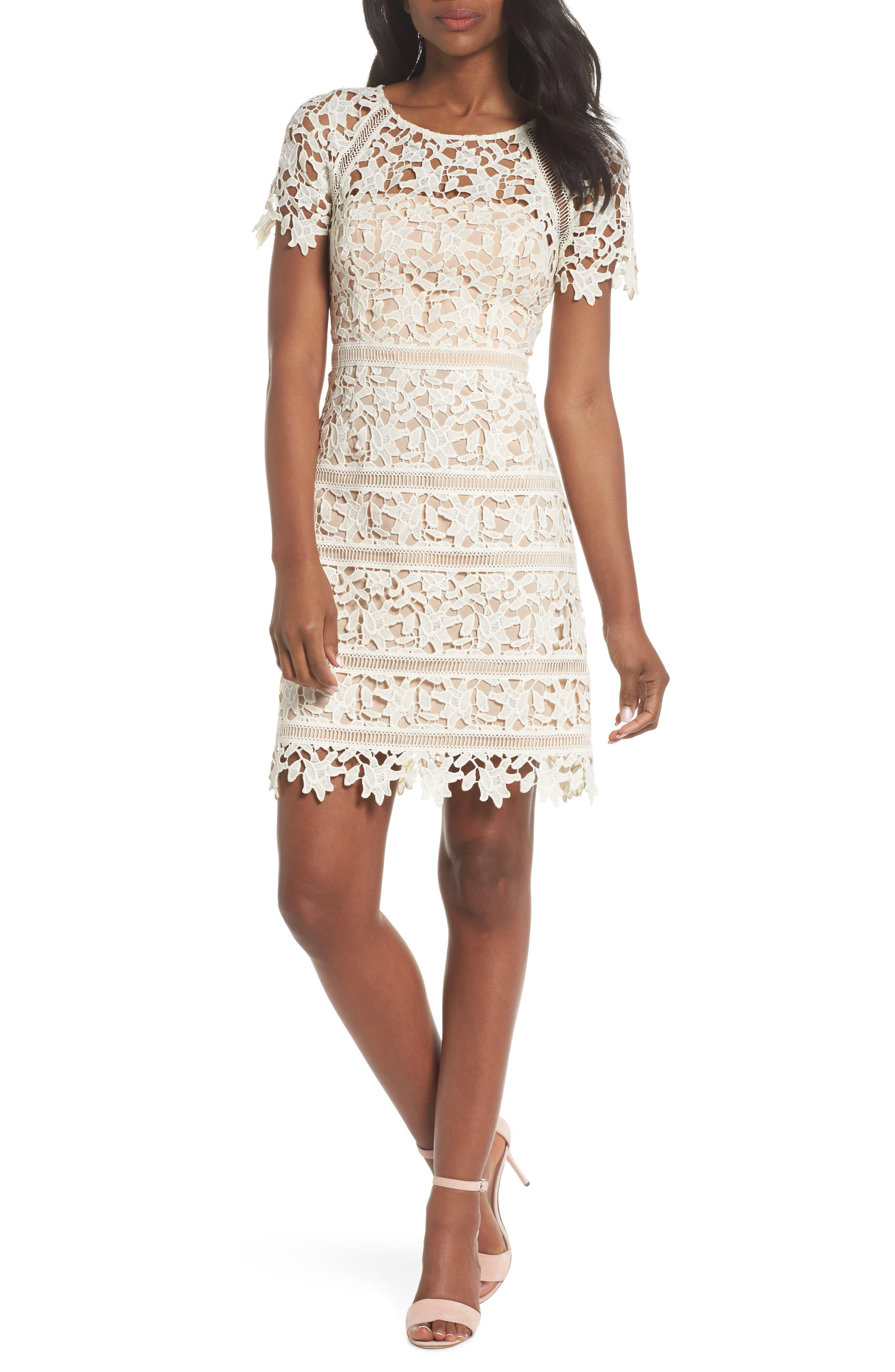 Main Image - Eliza J Crochet Overlay Dress (Regular & Petite)