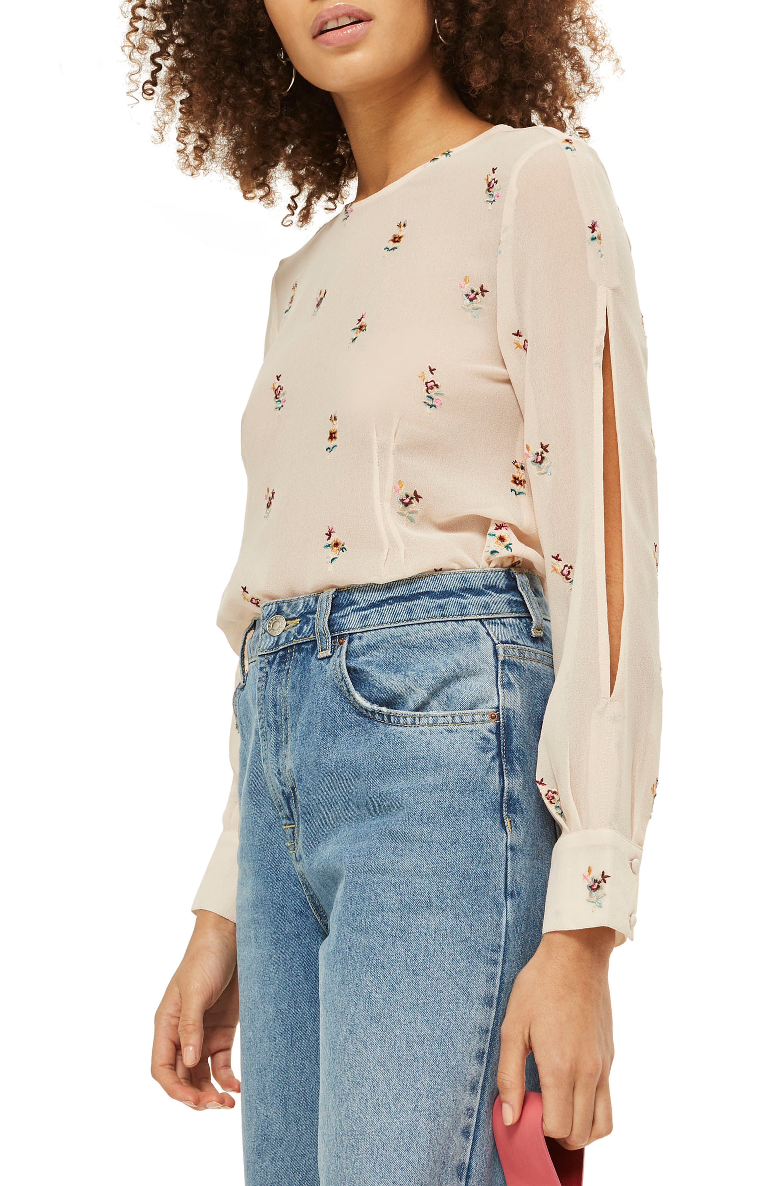 Floral Embroidered Split Sleeve Top,                             Alternate thumbnail 4, color,                             Nude Multi