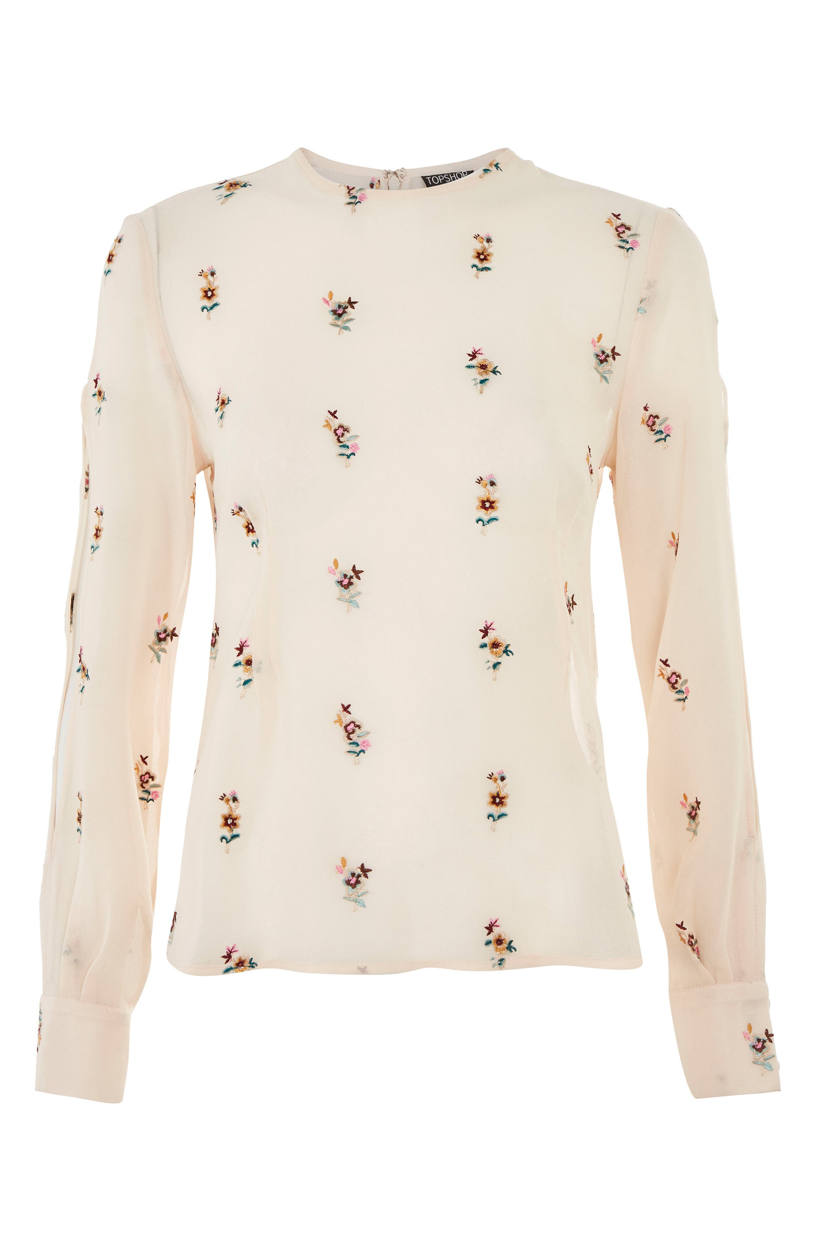 Floral Embroidered Split Sleeve Top,                             Main thumbnail 1, color,                             Nude Multi