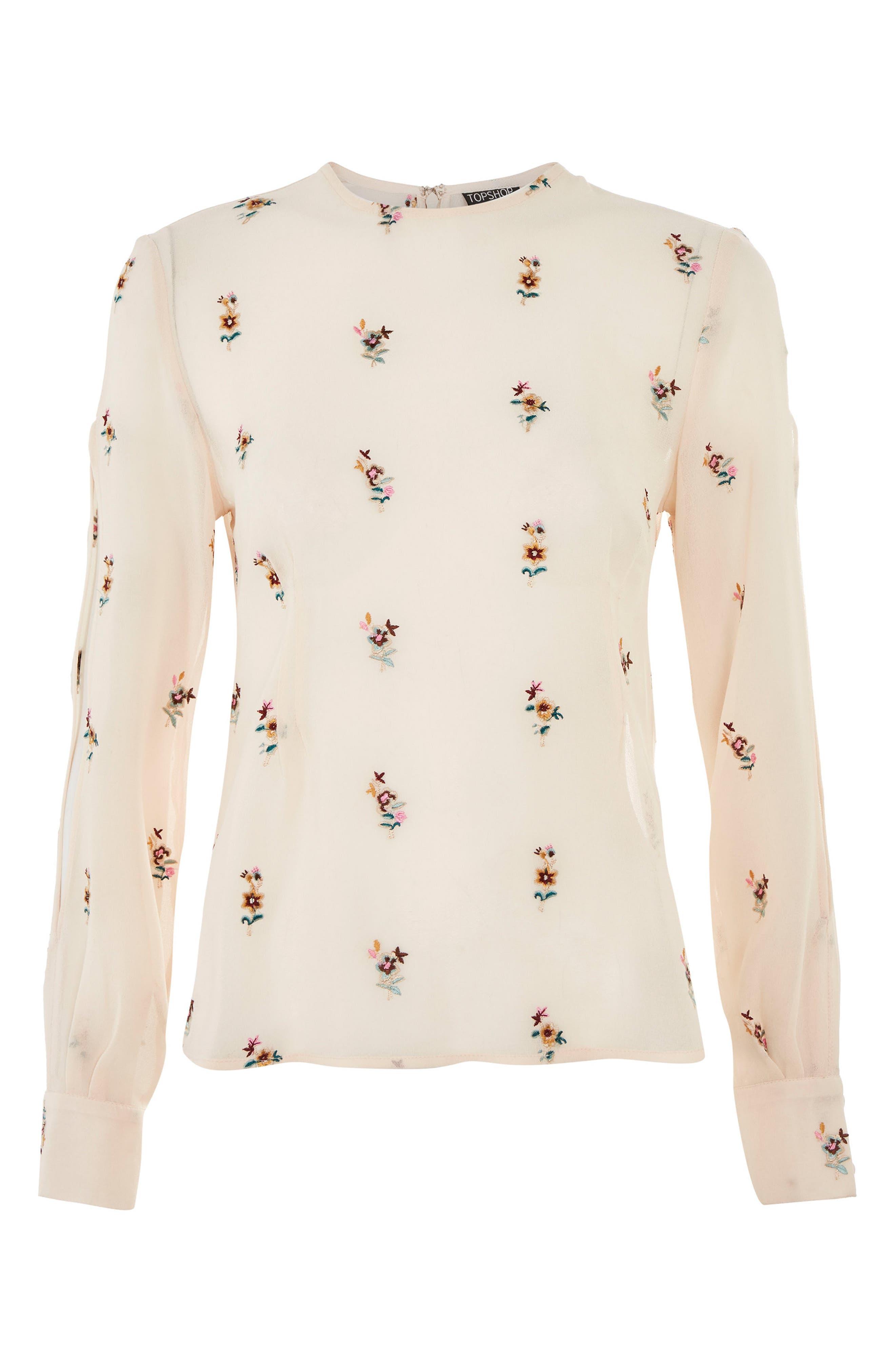 Main Image - Topshop Floral Embroidered Split Sleeve Top