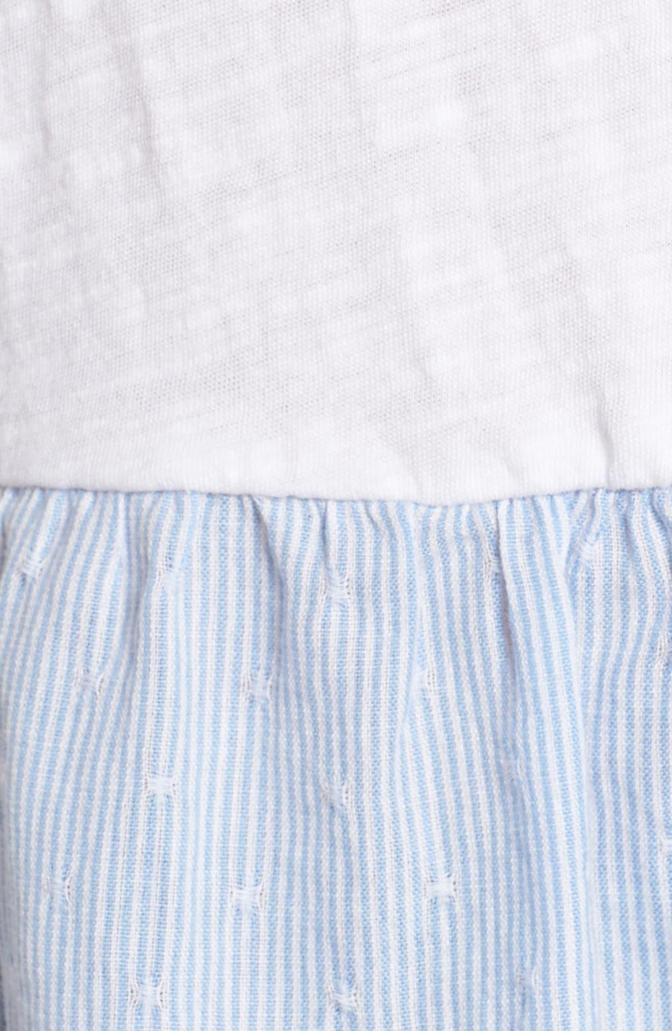 Layered Look Tee,                             Alternate thumbnail 5, color,                             White- Blue White Dobby Stripe
