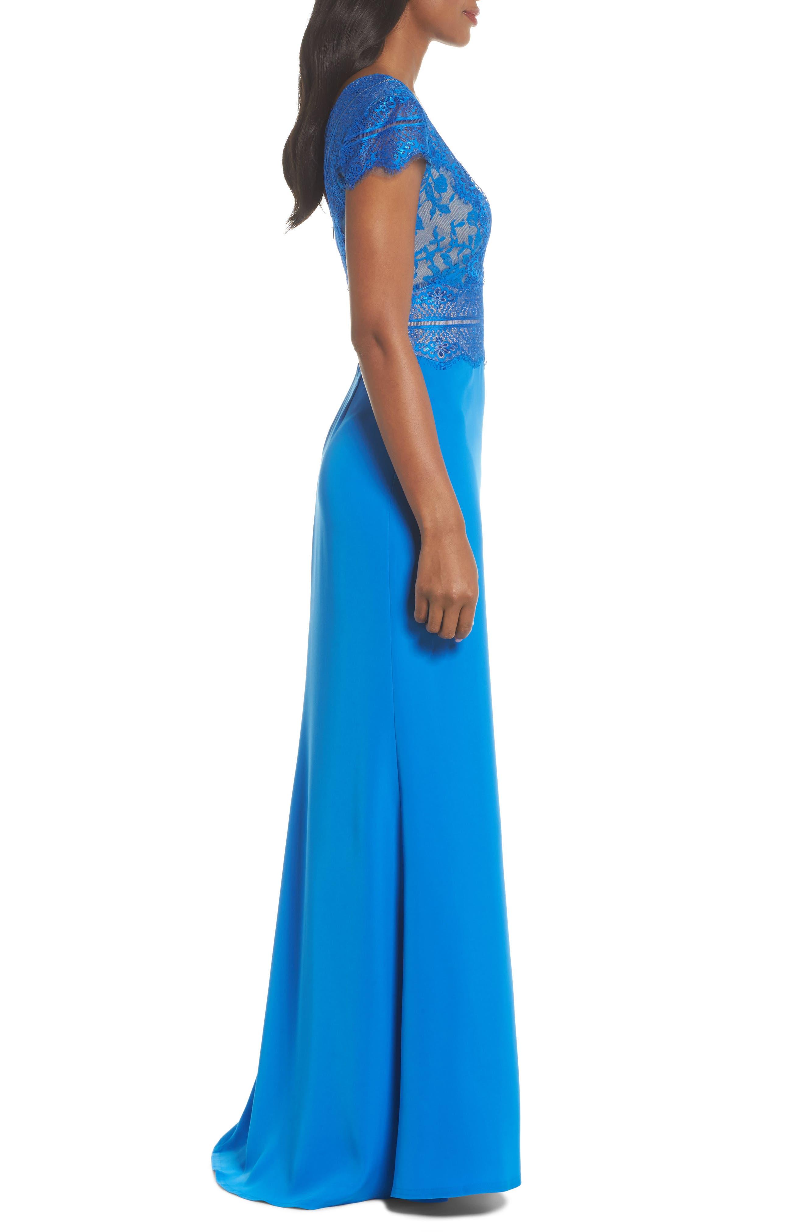 Lace & Crepe A-Line Gown,                             Alternate thumbnail 3, color,                             Azure