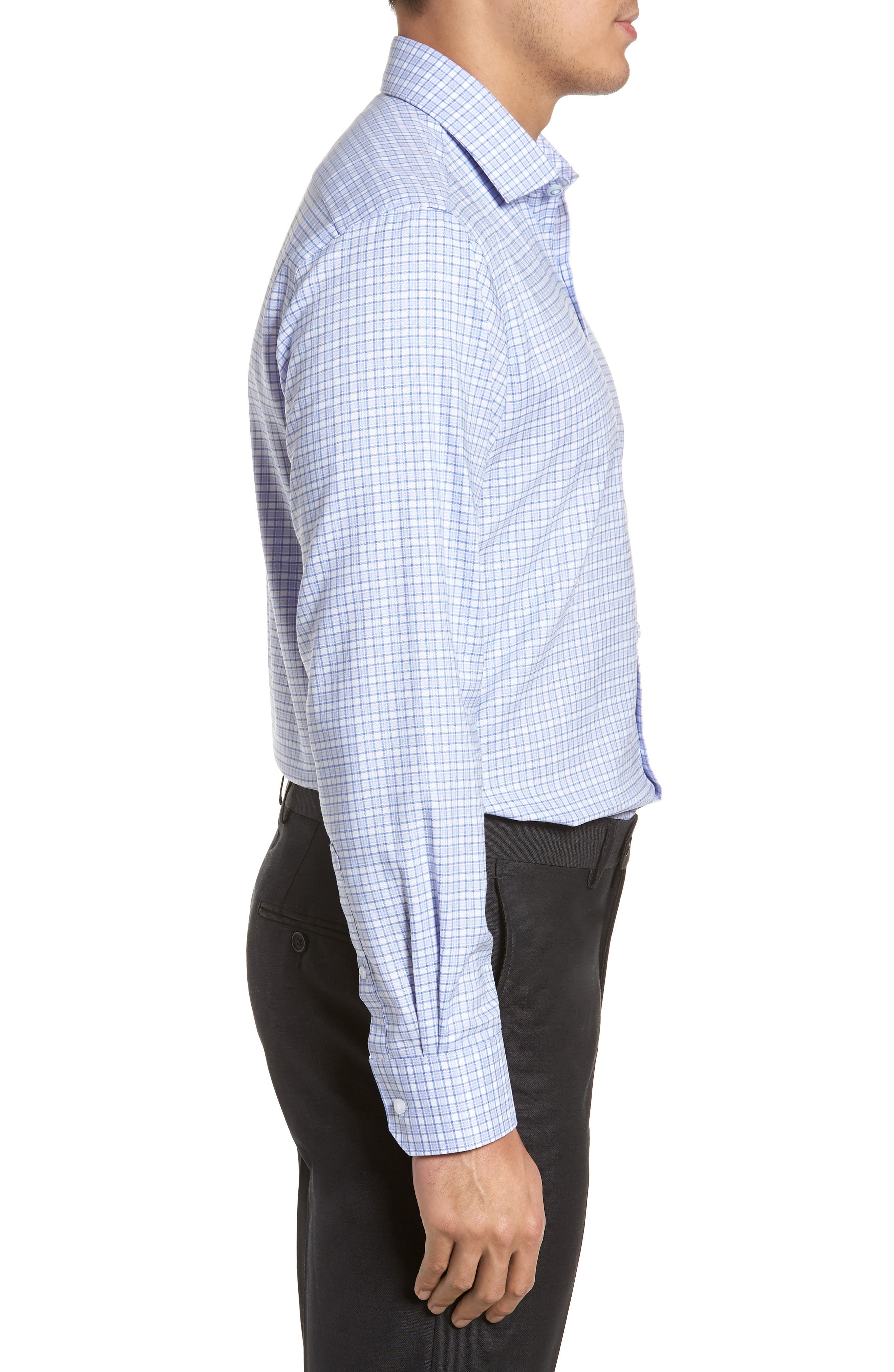 Nas Trim Fit Plaid Dress Shirt,                             Alternate thumbnail 4, color,                             Royal