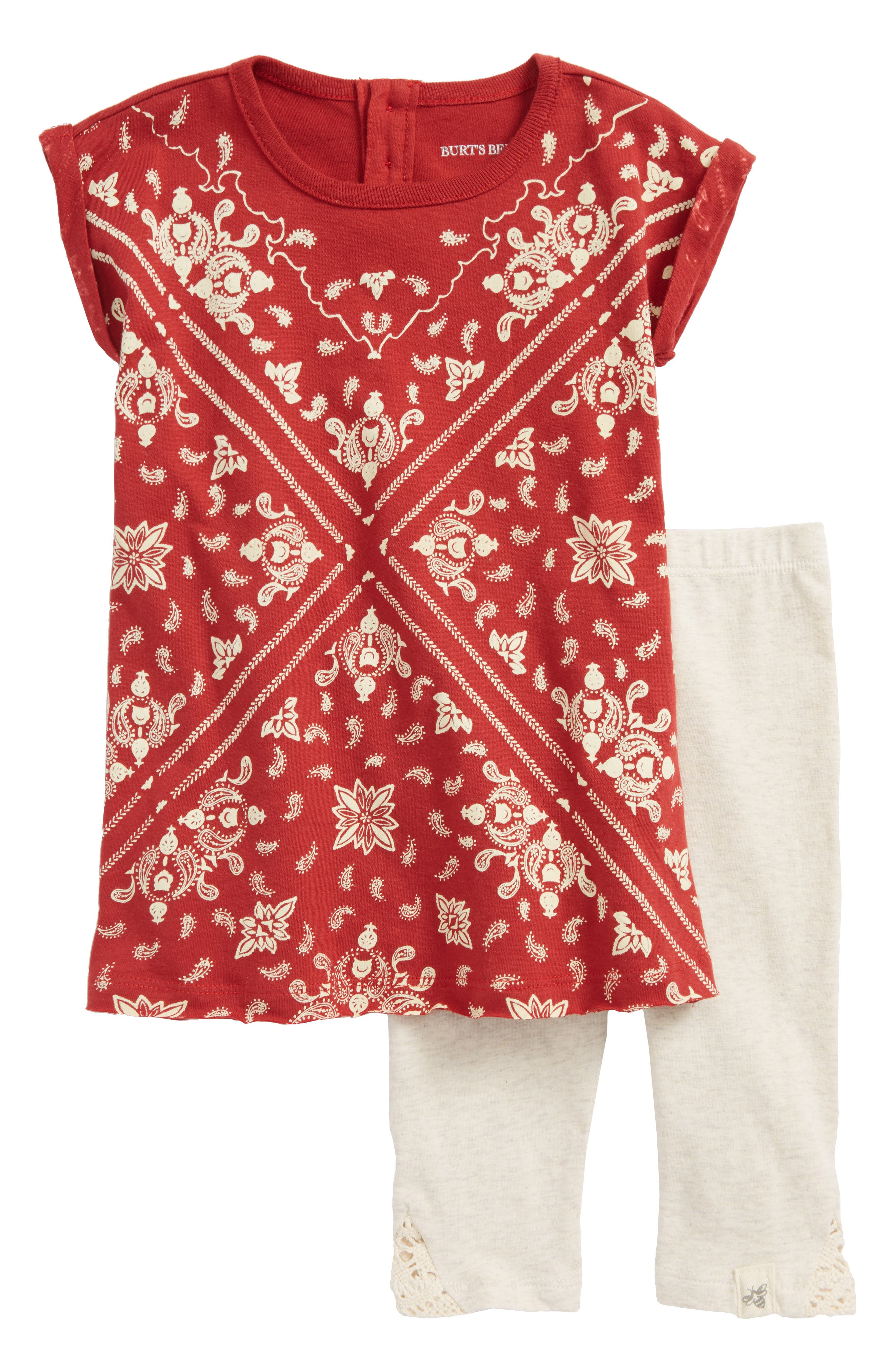 Bandana Print Tunic & Solid Leggings Set,                         Main,                         color, Red Barn