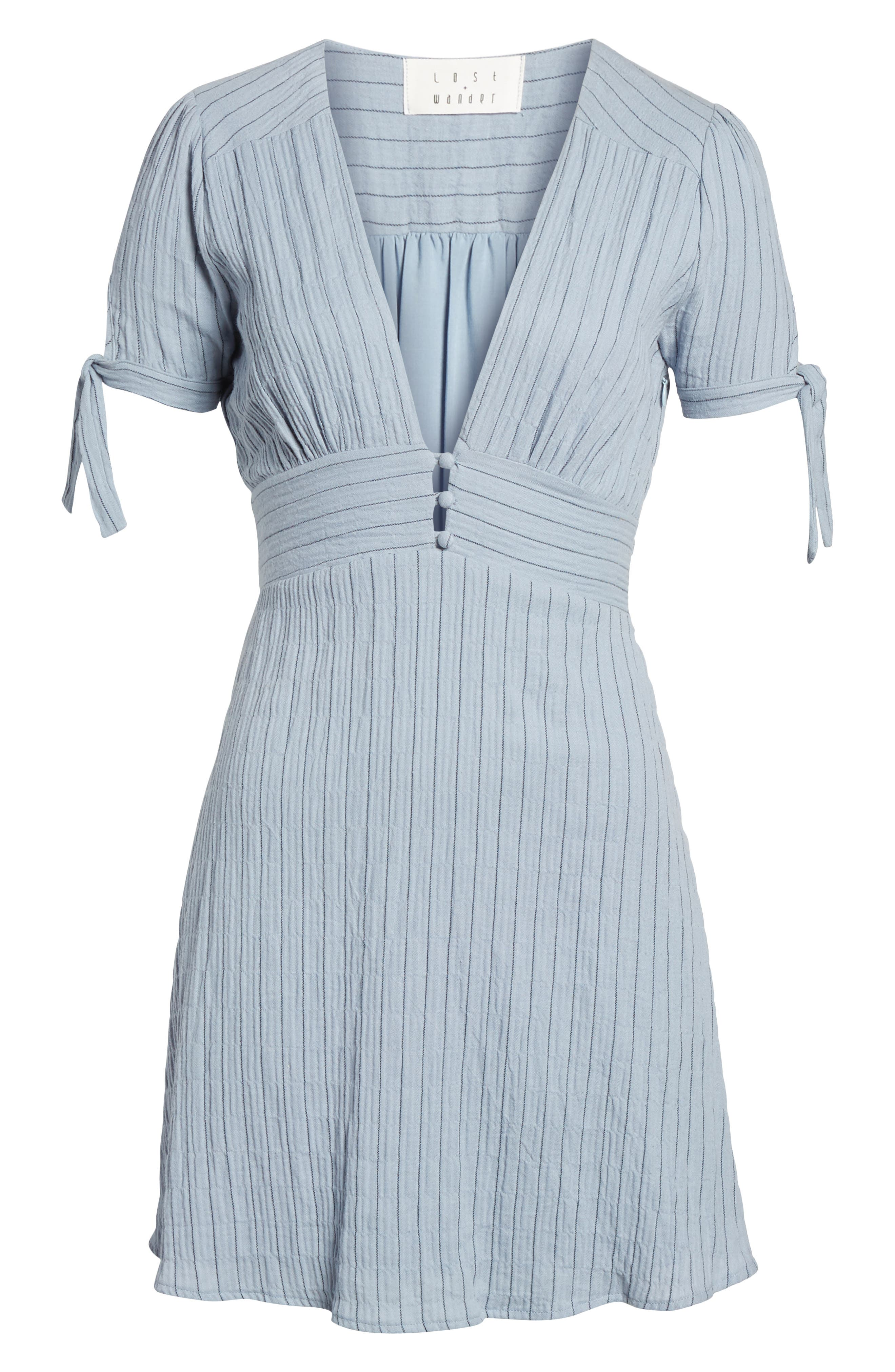 Sky Stripe Tie Sleeve Dress,                             Alternate thumbnail 7, color,                             Blue