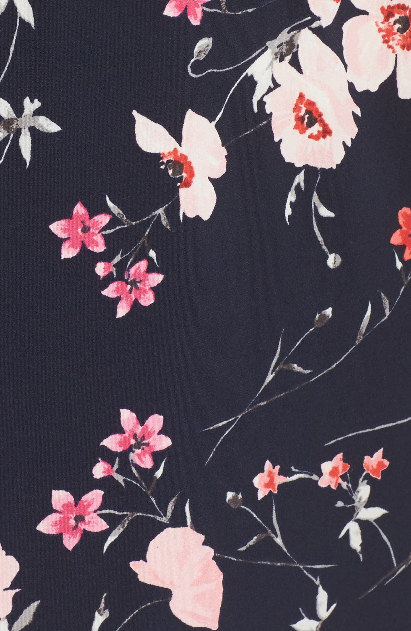 Floral Print Surplice Dress,                             Alternate thumbnail 6, color,                             Navy/ Pink