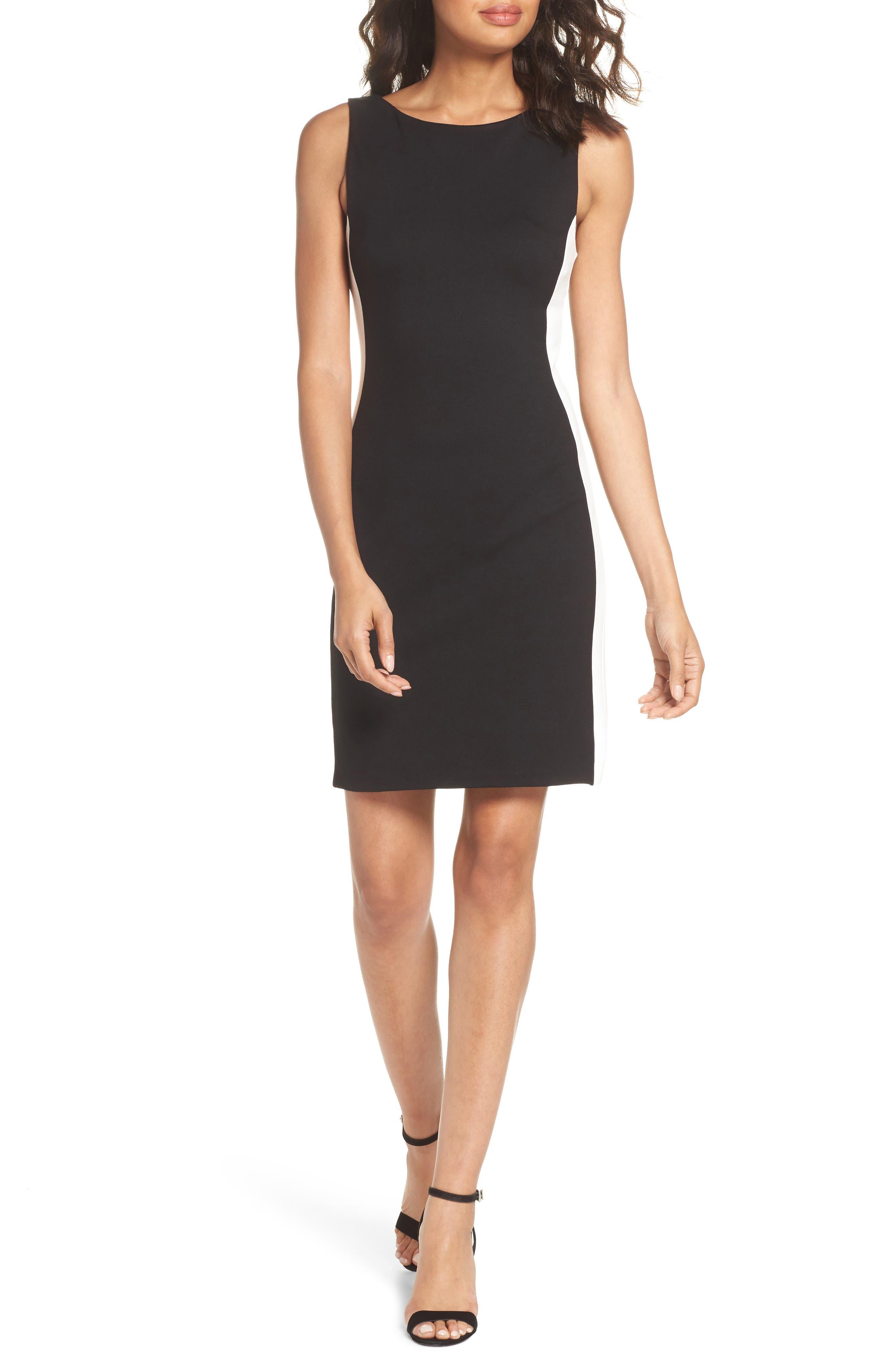 Lore Lula Colorblock Ponte Sheath Dress,                             Main thumbnail 1, color,                             Black/ Summer White