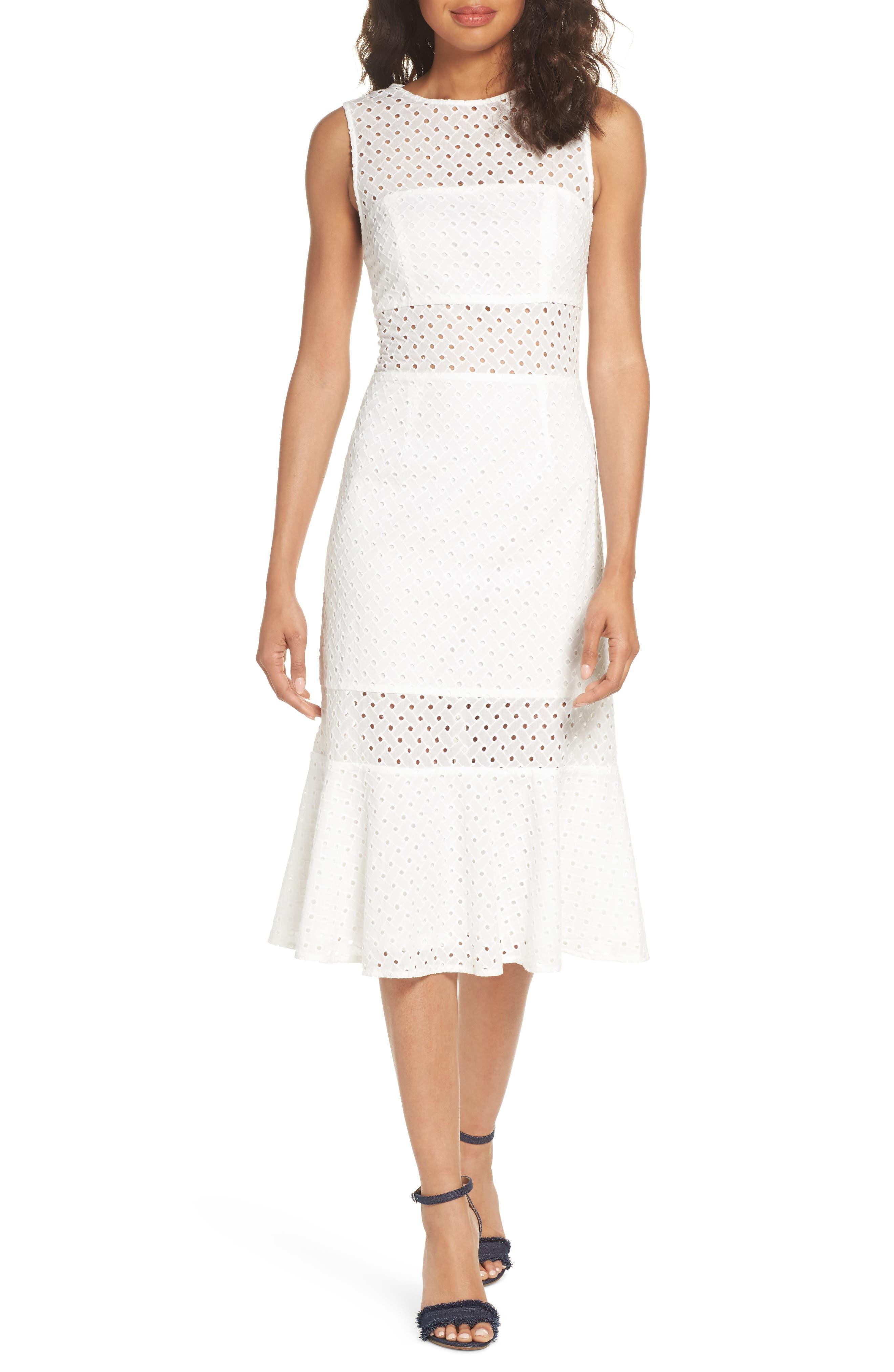 NSR Taylor Eyelet Midi Dress