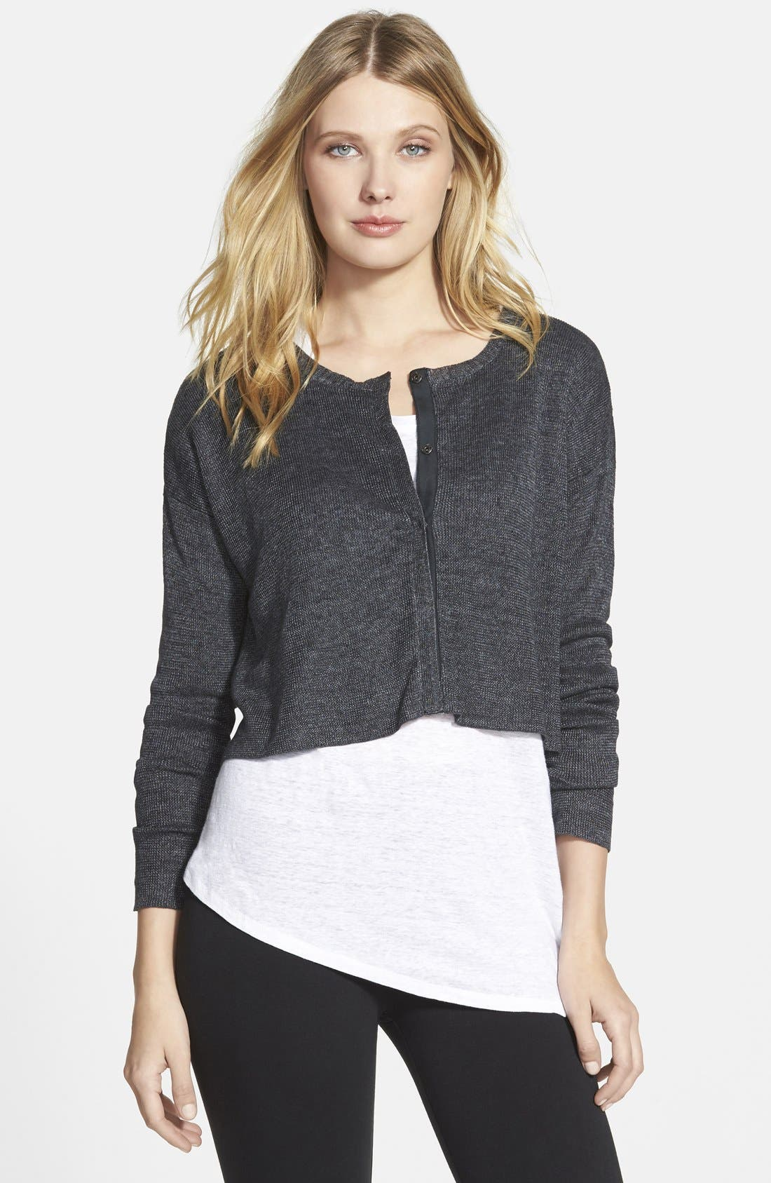 Alternate Image 1 Selected - Eileen Fisher Linen Cropped Round Neck Cardigan (Online Only)