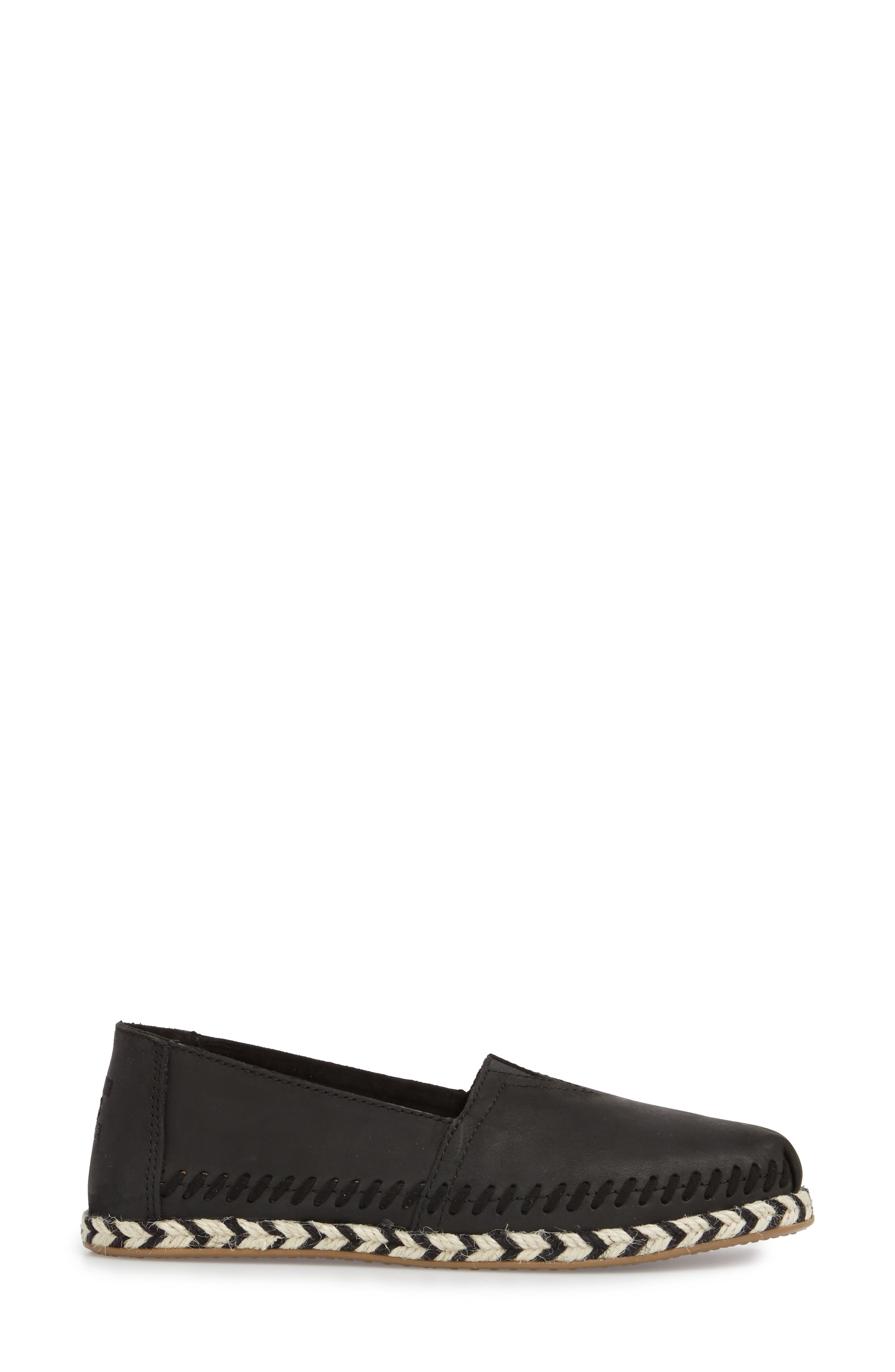 Alpargata Slip-On,                             Alternate thumbnail 3, color,                             Black Leather Rope Sole
