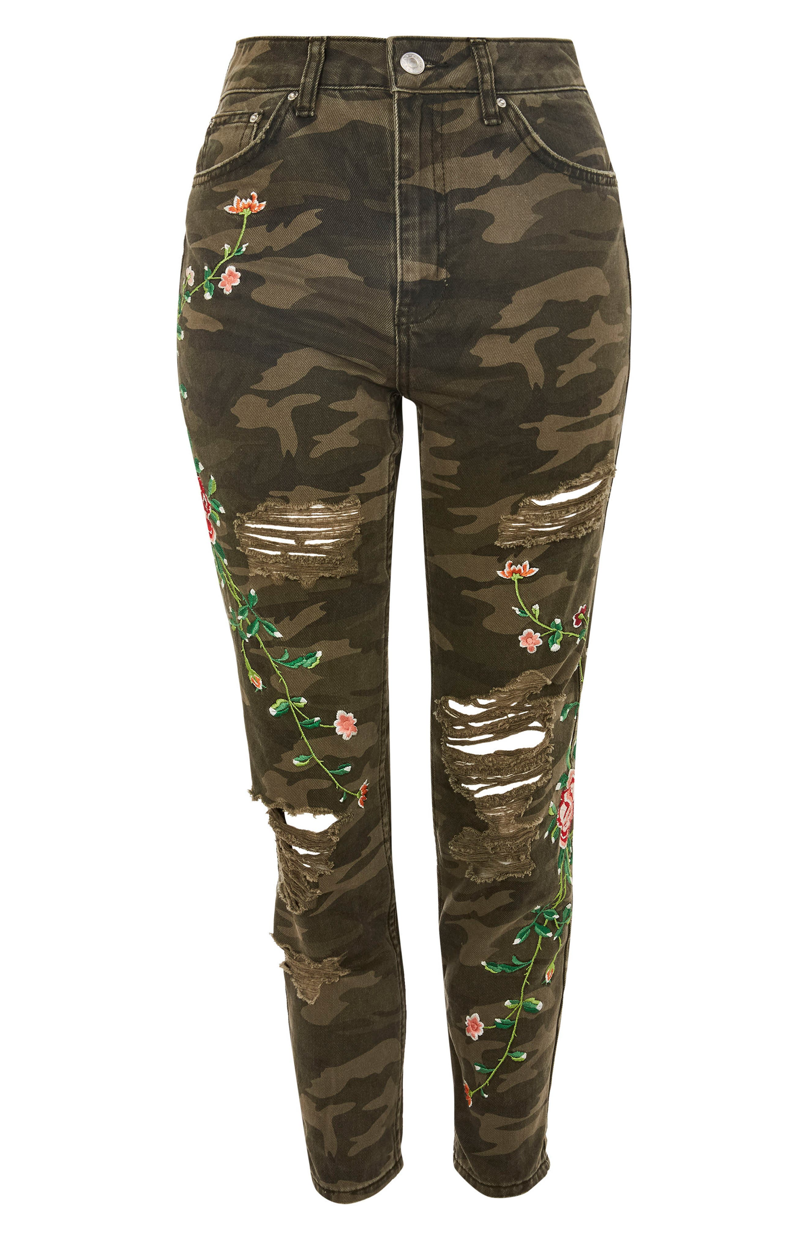 Embroidered Camo Mom Jeans,                             Alternate thumbnail 4, color,                             Olive Multi