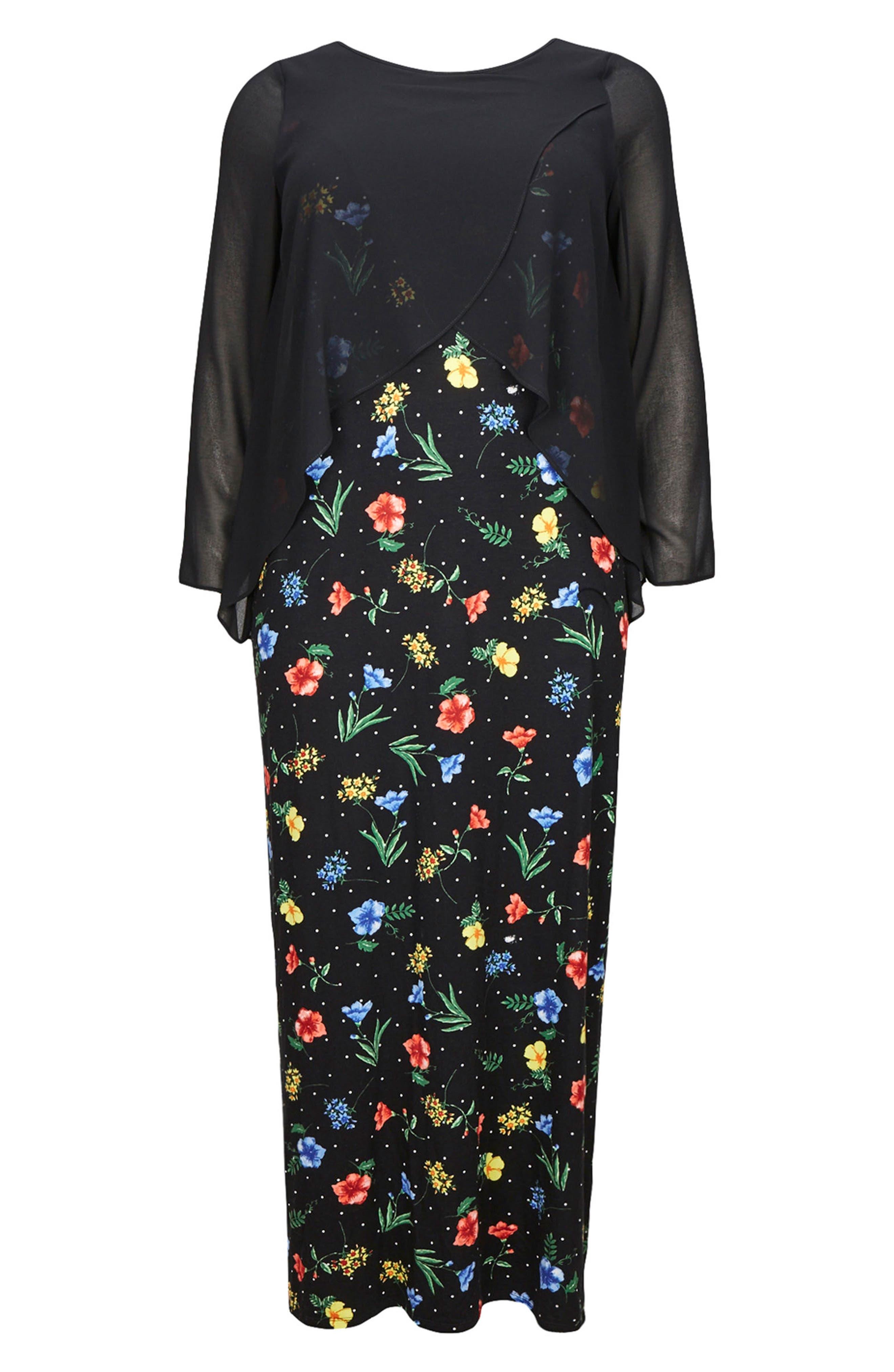 Split Overlay Floral Maxi Dress,                             Alternate thumbnail 2, color,                             Dark Multi