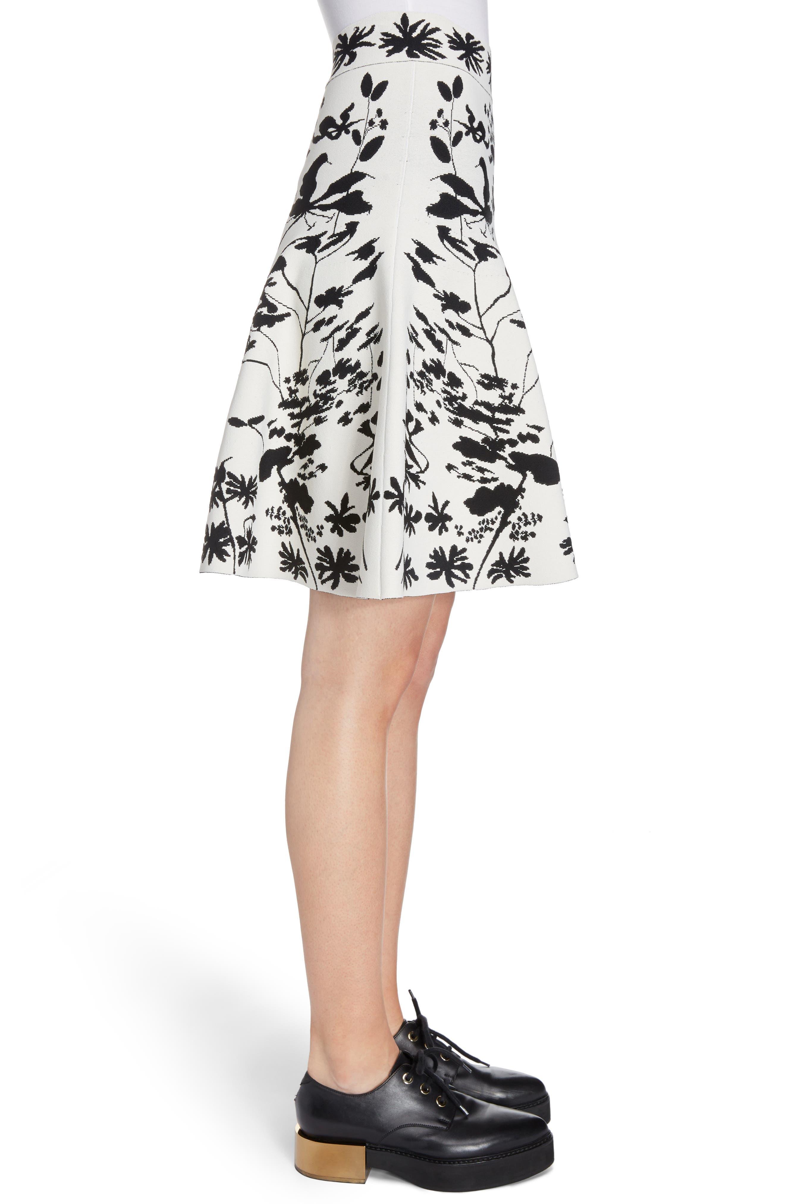 Botanical Jacquard Knit Flounce Skirt,                             Alternate thumbnail 3, color,                             Ivory/ Black