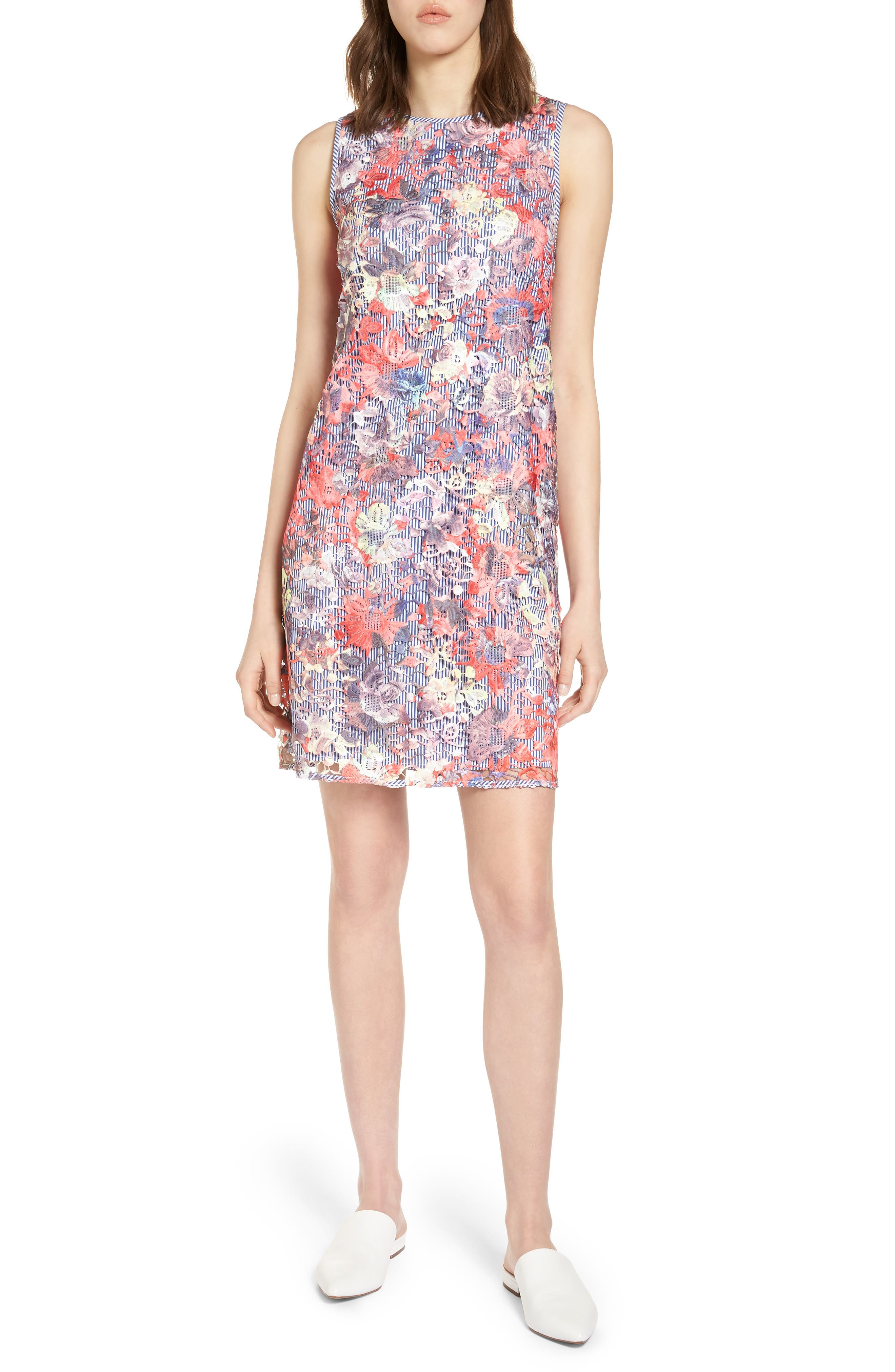 Lace Pinstripe Tank Dress,                             Main thumbnail 1, color,                             Coral Lace Pattern