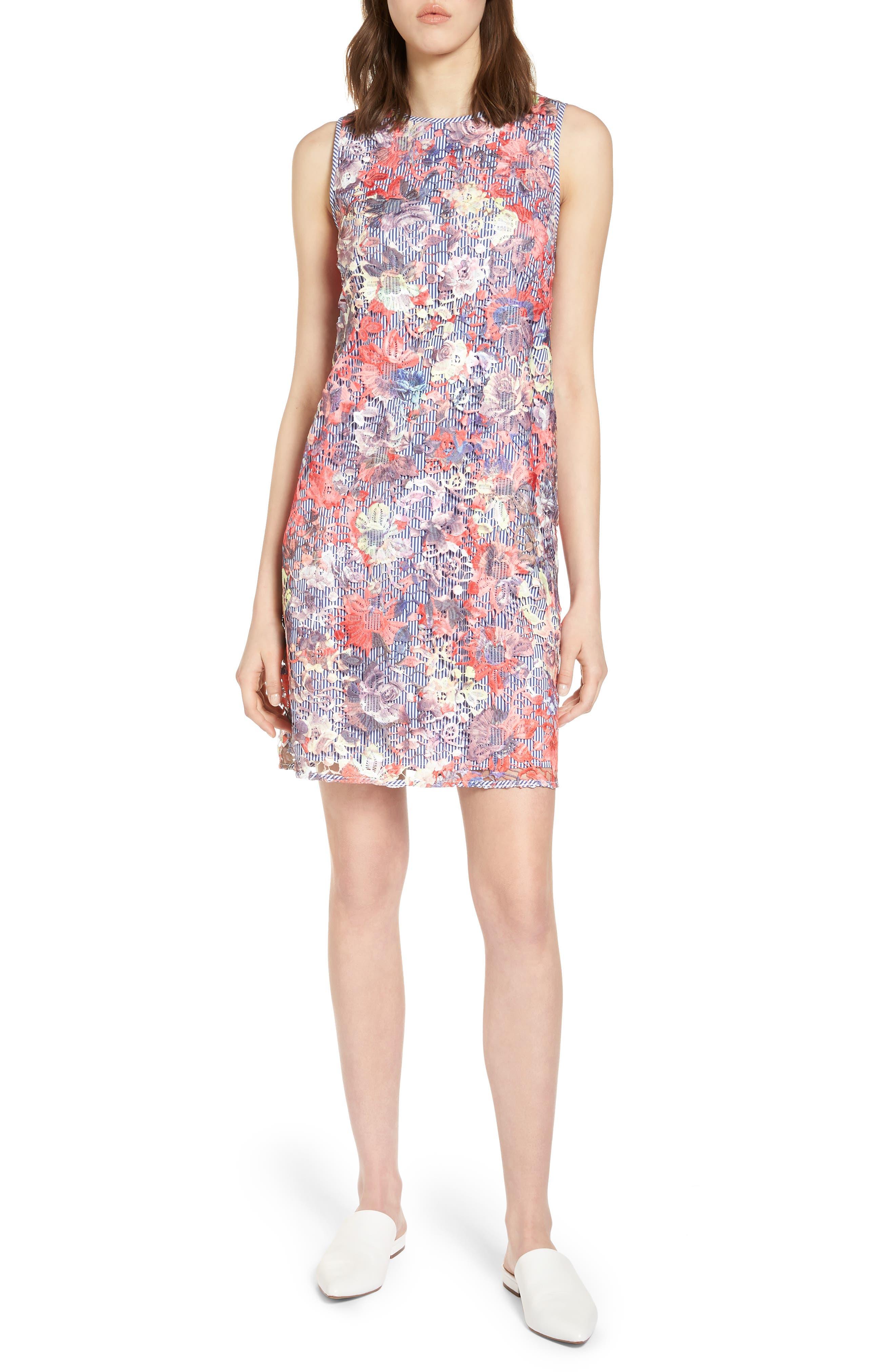 Lace Pinstripe Tank Dress,                         Main,                         color, Coral Lace Pattern