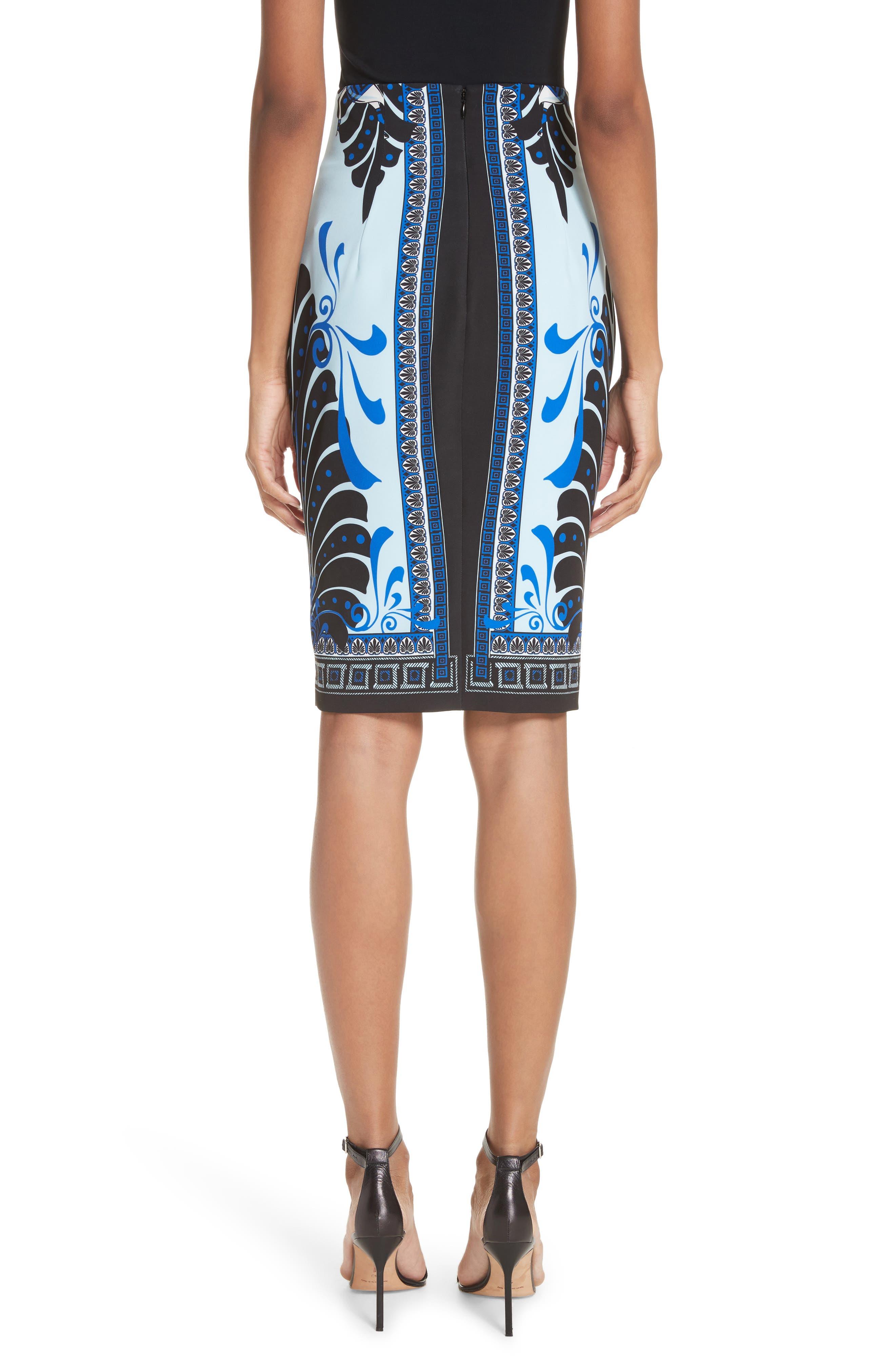 Eros Cady Pencil Skirt,                             Alternate thumbnail 2, color,                             Light Blue/ Print