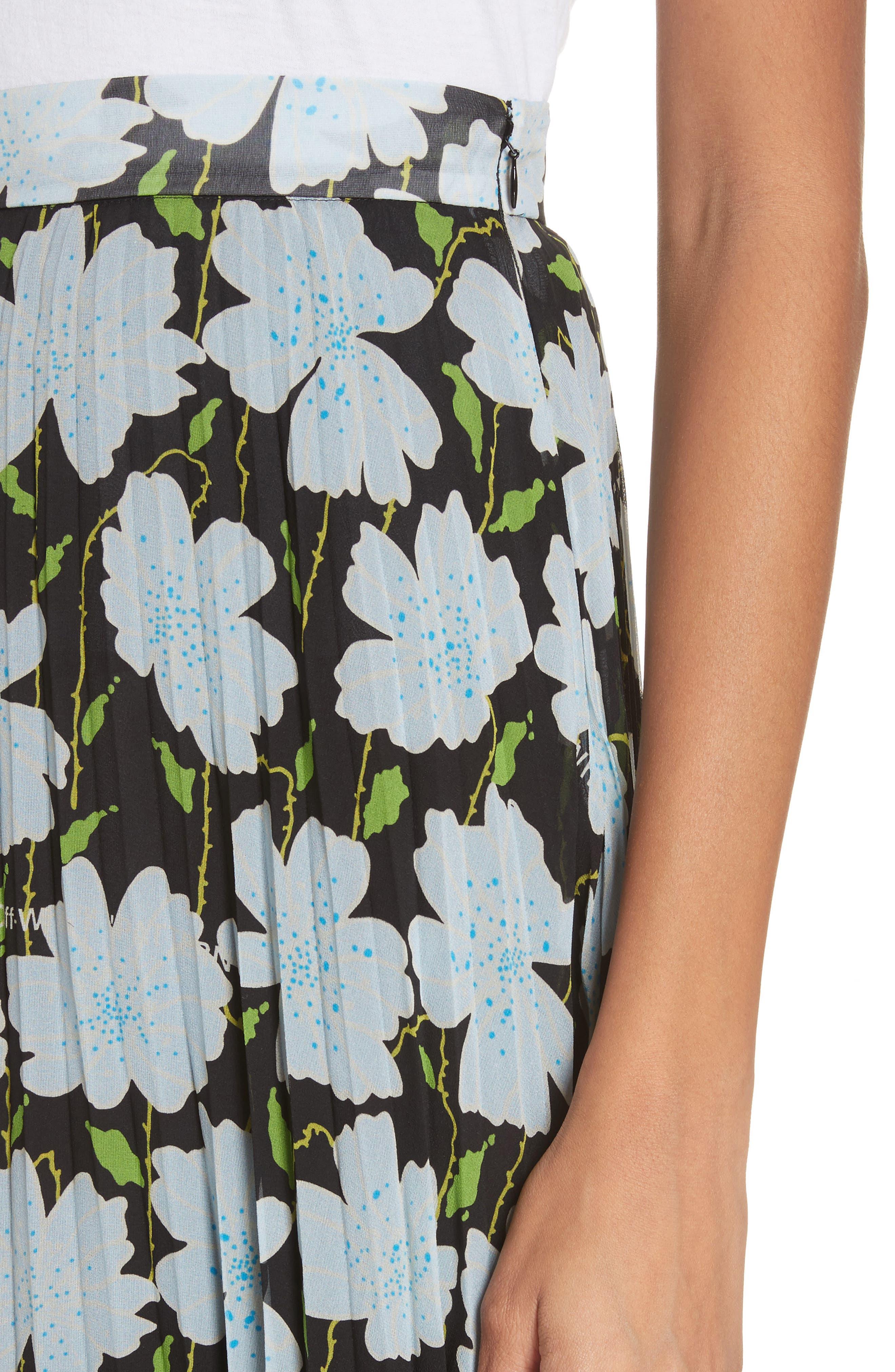 Floral Plissé Silk Skirt,                             Alternate thumbnail 4, color,                             All Over/ No Color