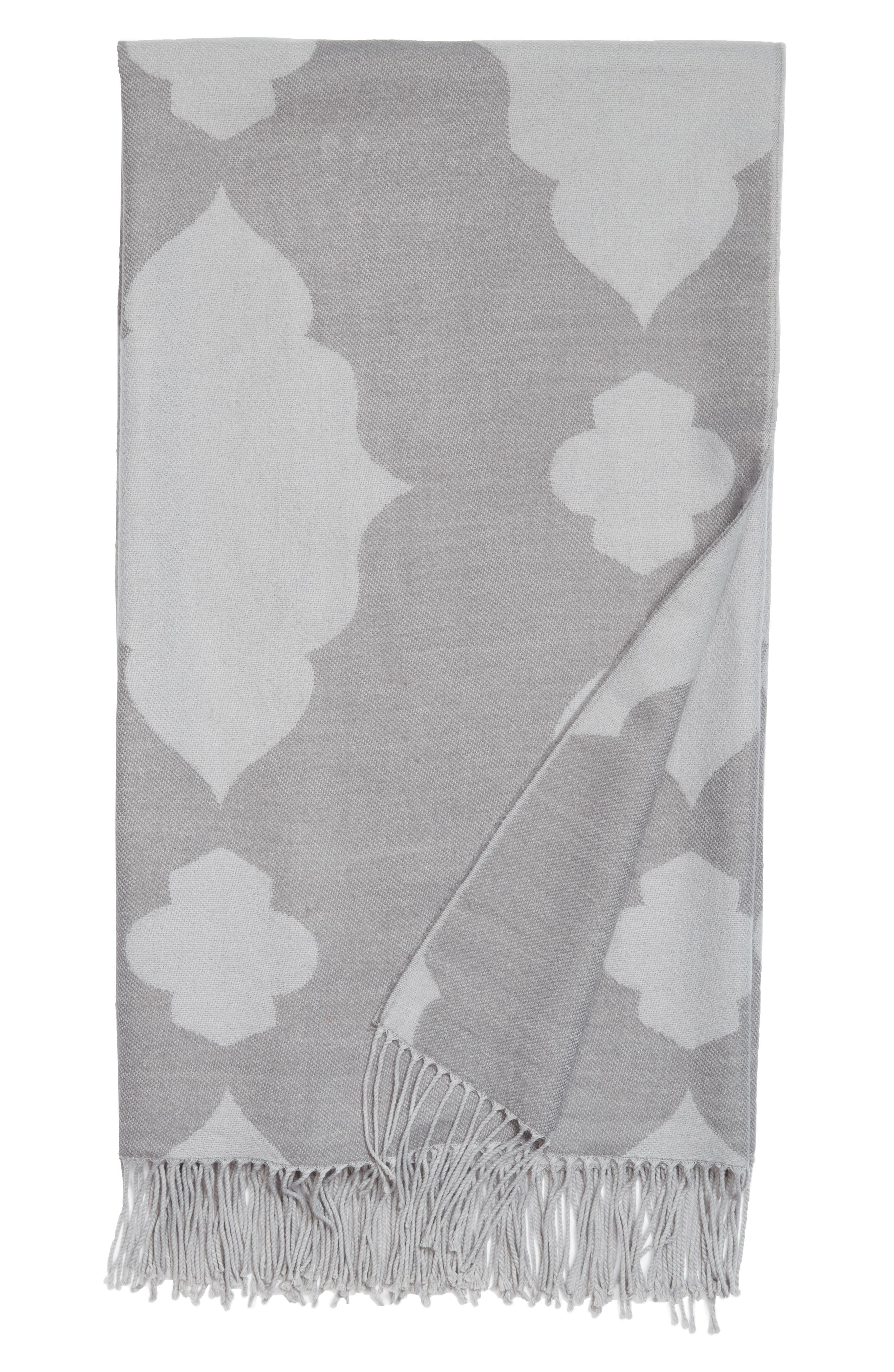 Mara Jacquard Throw,                         Main,                         color, Grey Frost