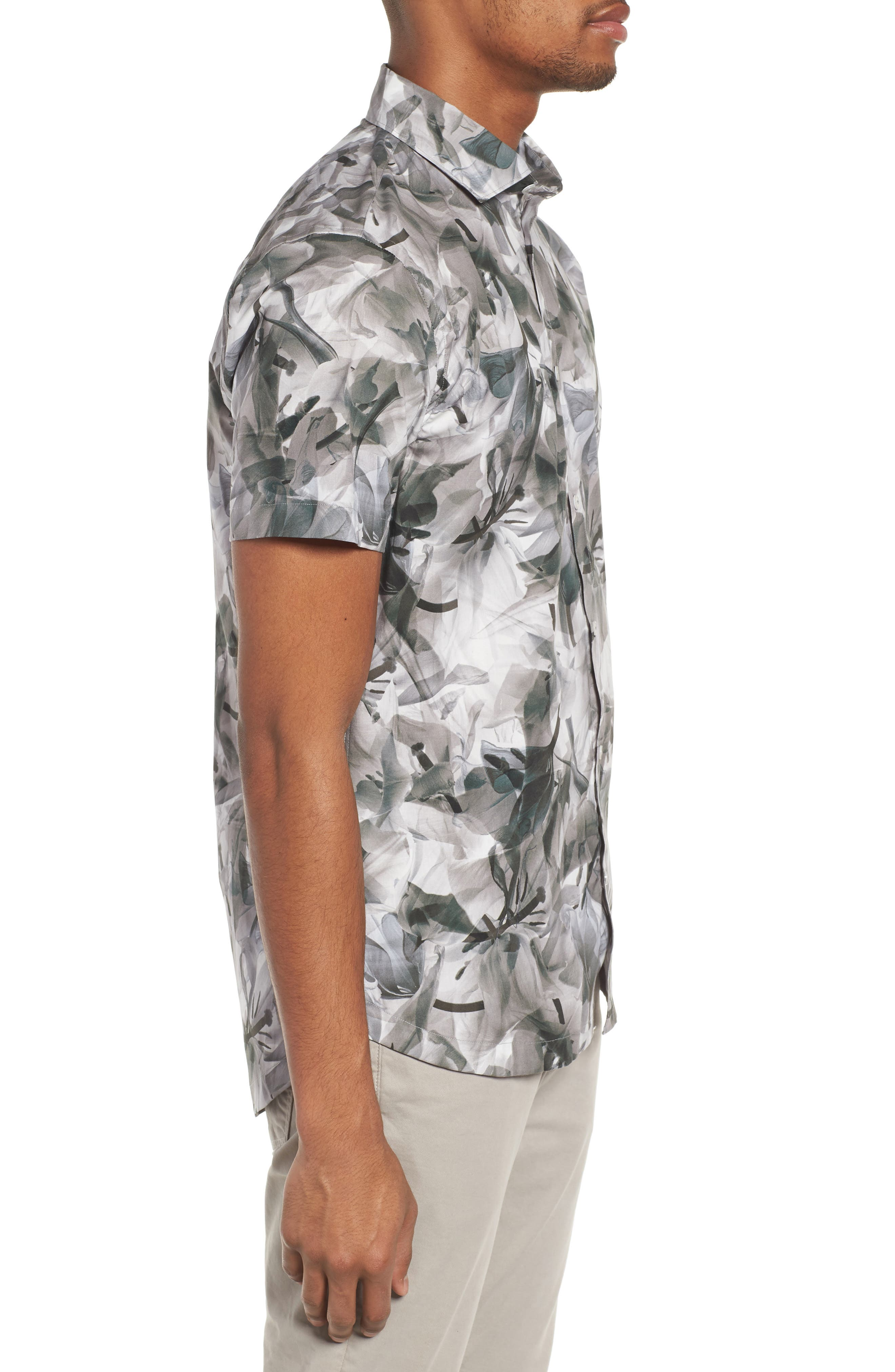 Cabana Regular Fit Sport Shirt,                             Alternate thumbnail 4, color,                             Floral X-Ray