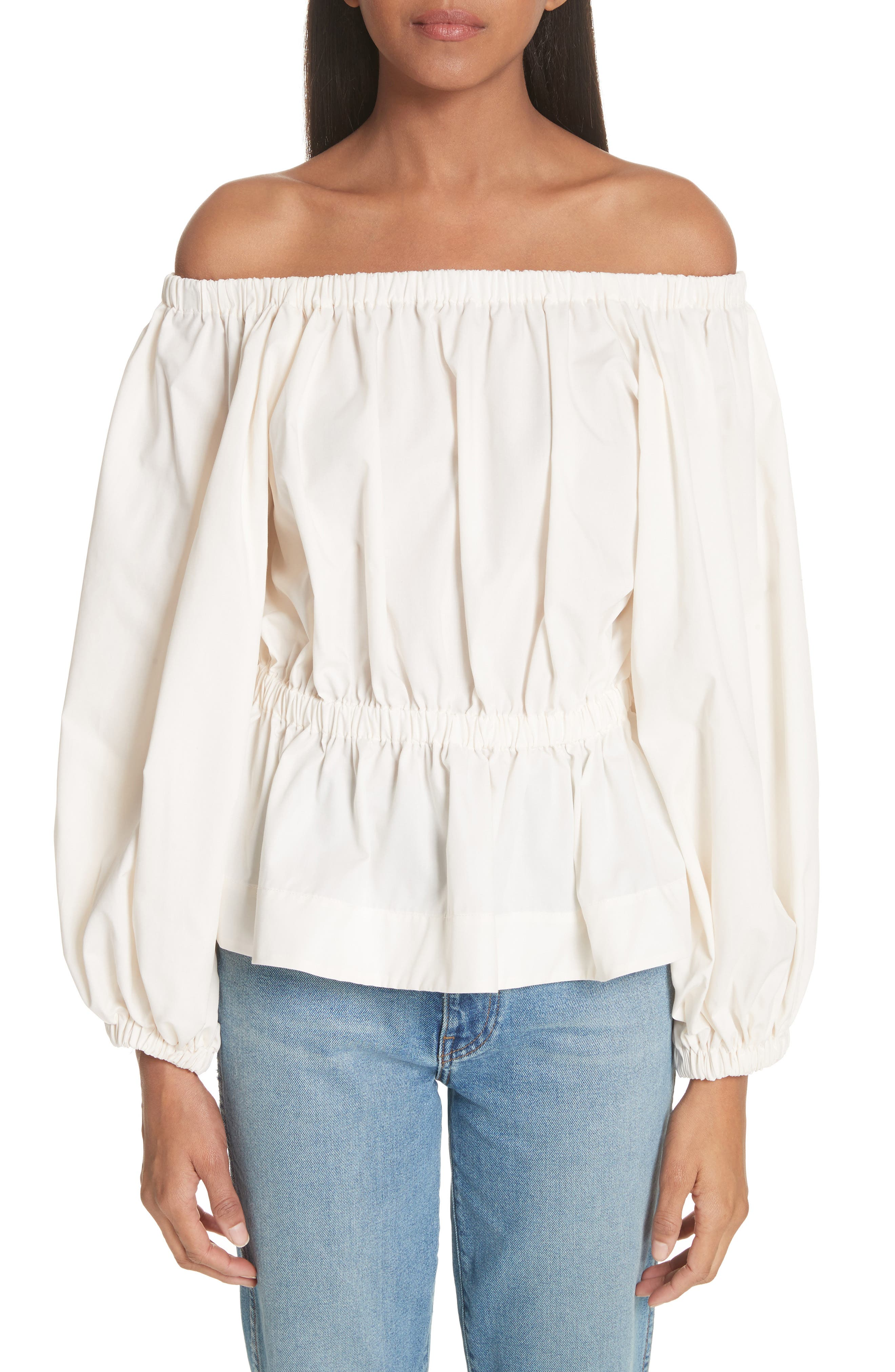Molly Goddard Marion Ruched Off the Shoulder Top